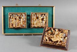2 Holzskulpturen / Holzpaneele China 1. Hälfte 20. Jahrhundert