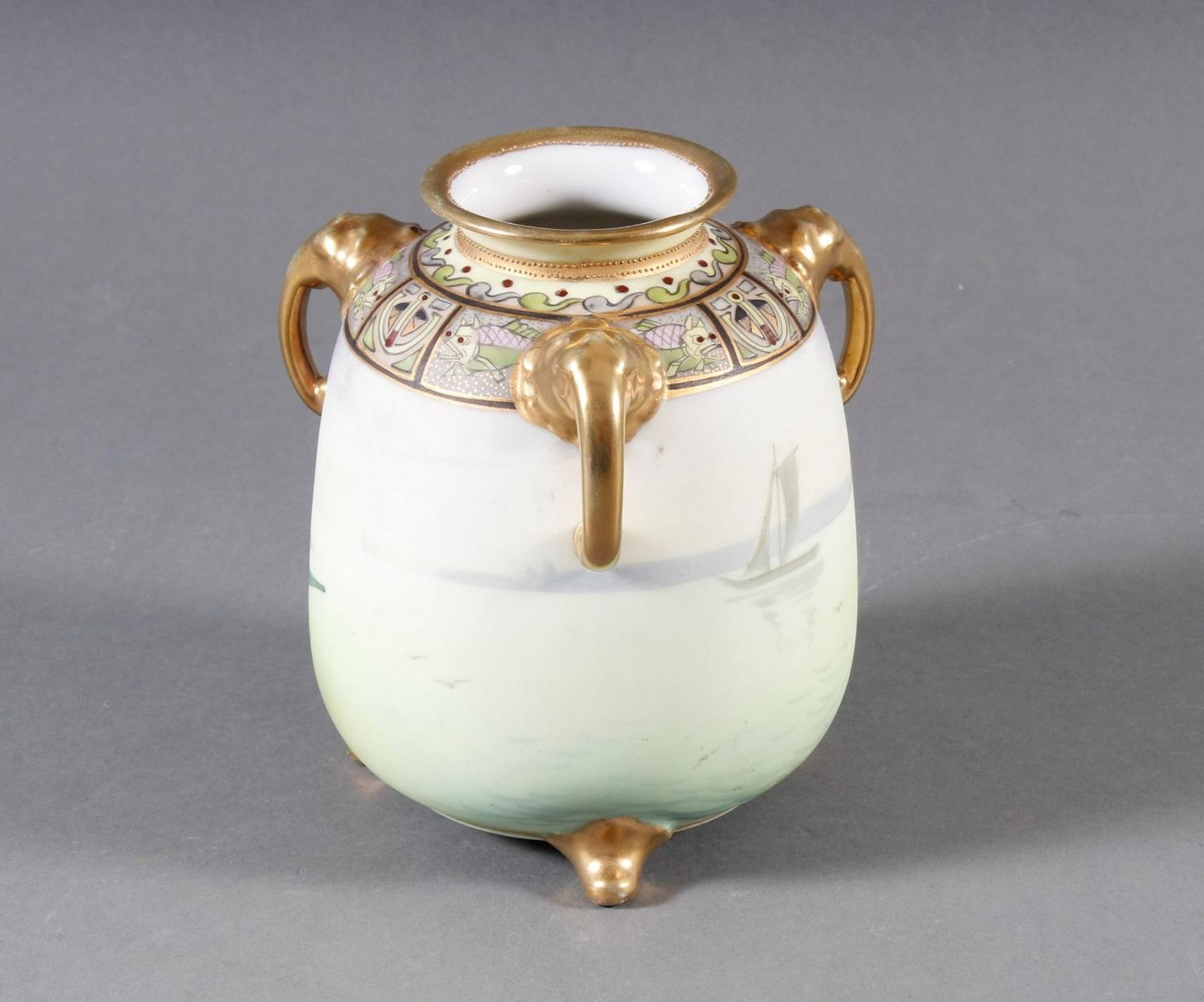 Dreihenkel-Porzellanvase, Nippon Porzellan um 1910 - Bild 2 aus 9