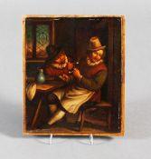 """Ölgemälde, wohl Holland 18. Jahrhundert, """"Die Raucher in der guten Stube"""