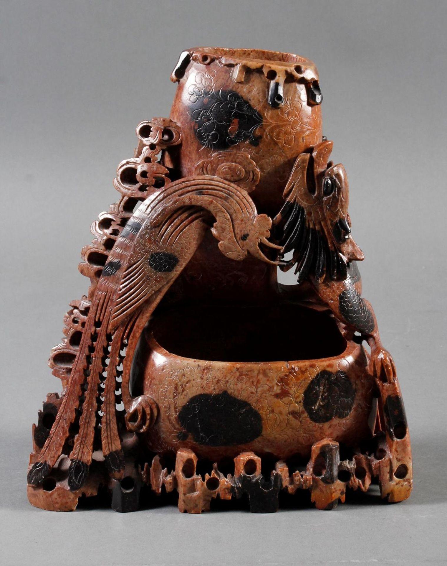 Tuschepinselwascher aus Steatit mit Zwei Becken, China Anfang 20 Jahrhundert