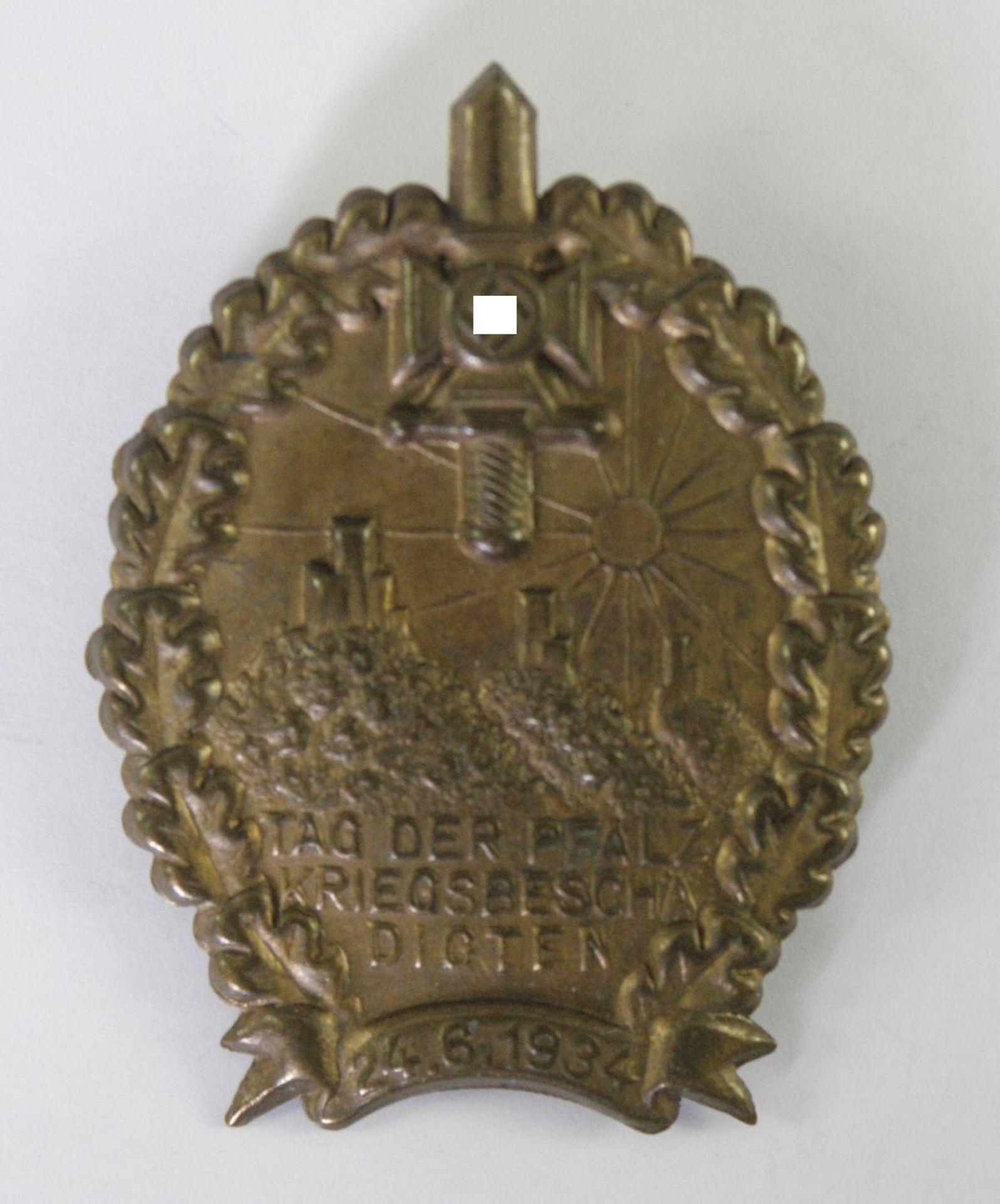 Abzeichen, NSKOV (NS-Kriegsopferversorgung) Tag der pfälzischen Kriegsbeschädigten 24.6.1934