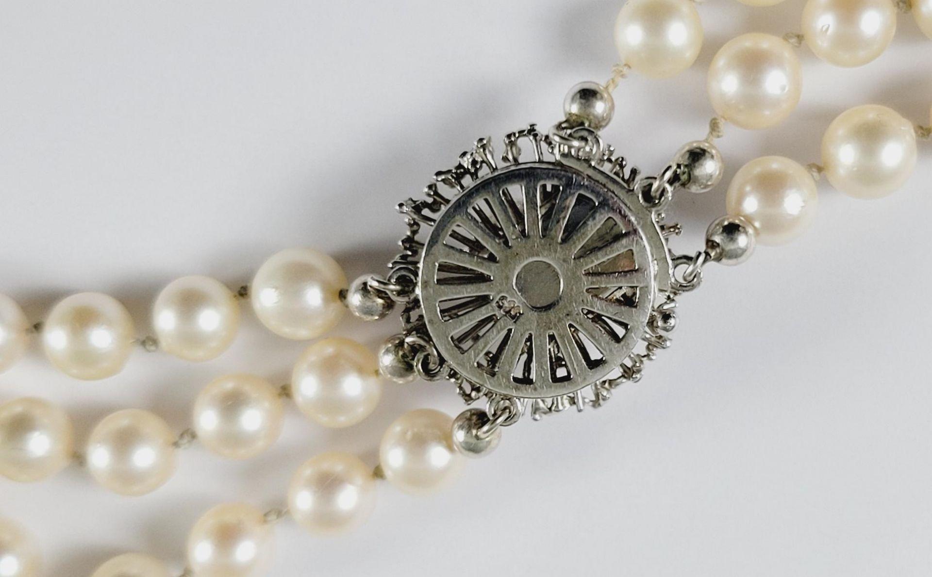 Perlenkette mit 14 Karat Weißgoldschließe - Bild 2 aus 2