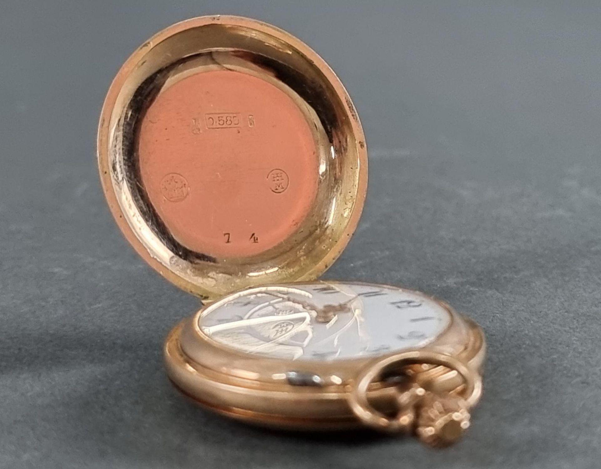 Goldene Damentaschenuhr, 14 Karat Gelbgold - Bild 6 aus 7