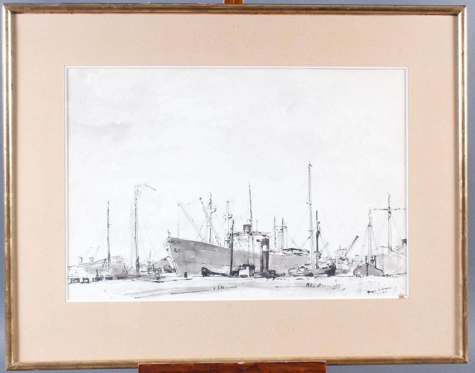 Aquarell, Hafenansicht mit Schiffen, Wilmmers 1950