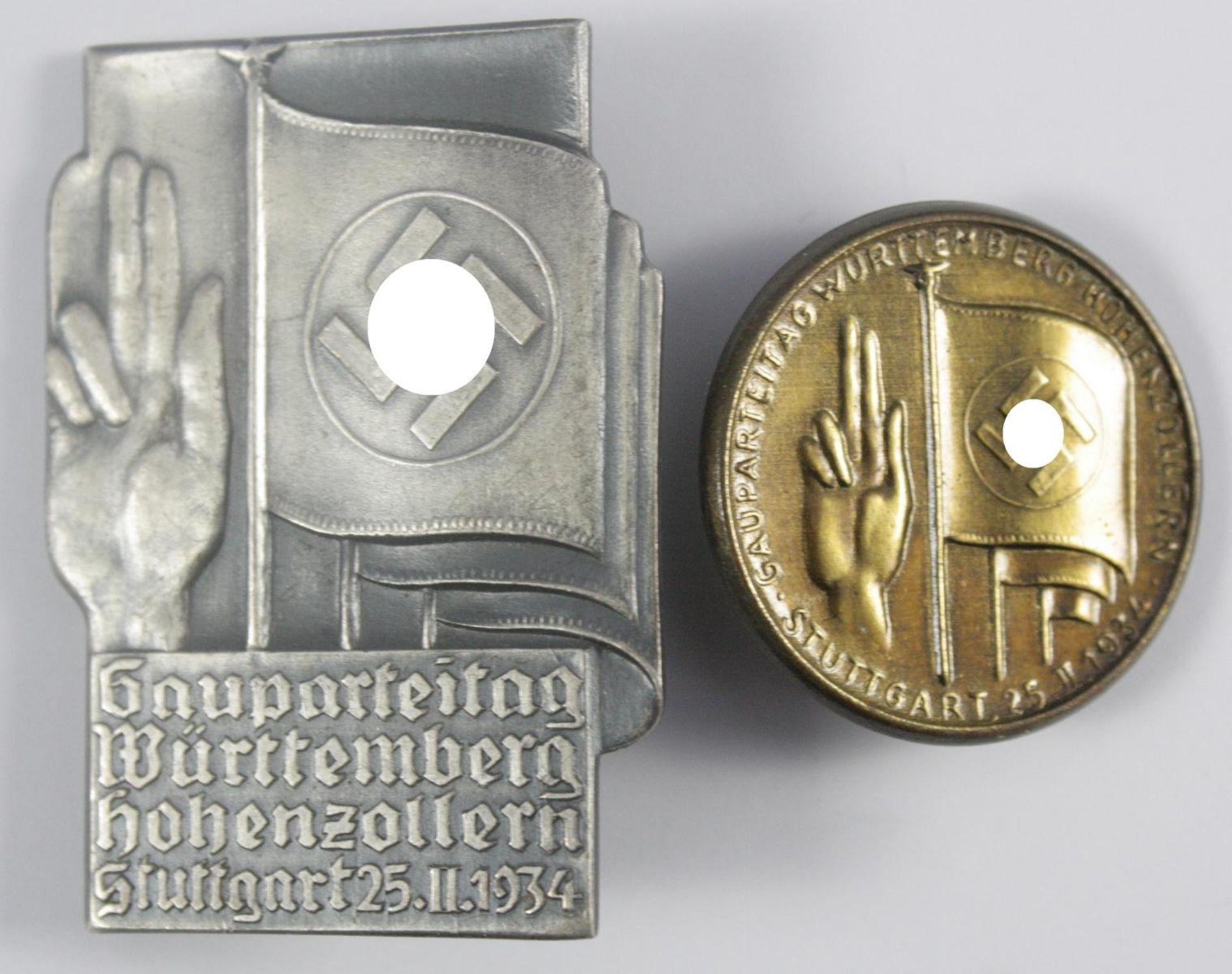 2 Tagungsabzeichen: Gauparteitag Württemberg Hohenzollern, Stuttgart 1934