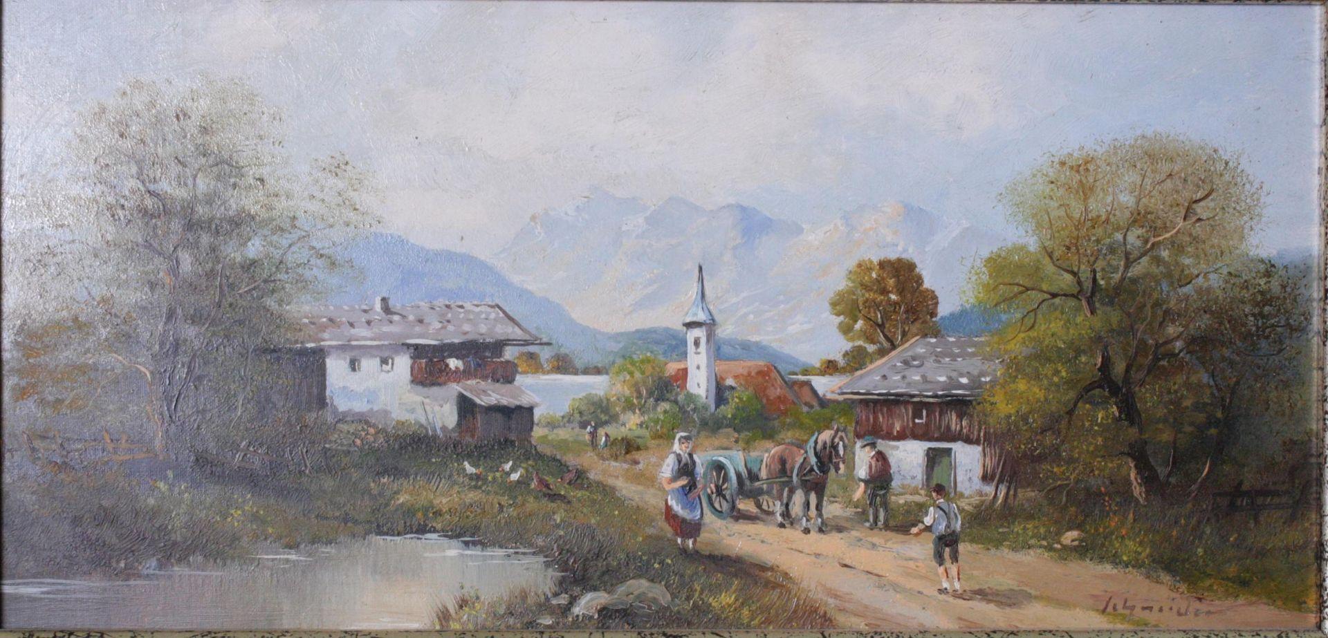 """Schneider. """"Dorfansicht mit Seelandschaft und Personen - Bild 2 aus 3"""