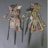 2 indonesische Schattenspiel-Puppen, Wayang-Kulit