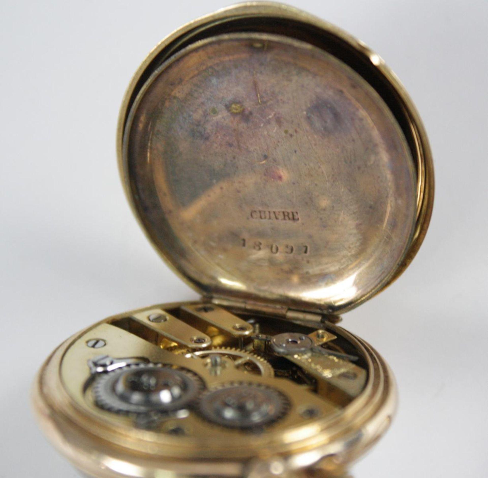 Goldene Damentaschenuhr, 14 Karat Gelbgold - Bild 6 aus 6