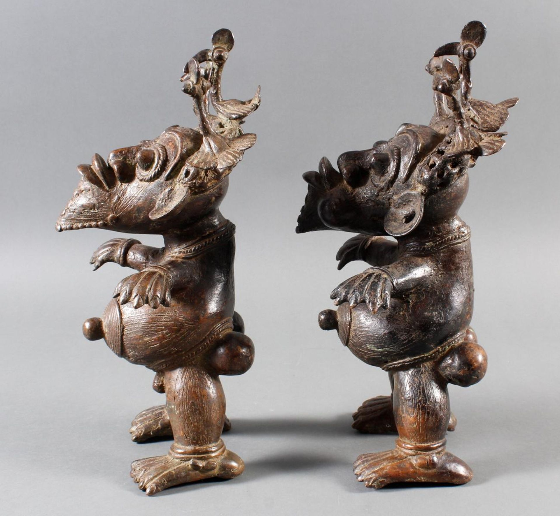 Paar Bronze-Hofzwergenpaar, Bamileke / Kamerun - Bild 10 aus 14
