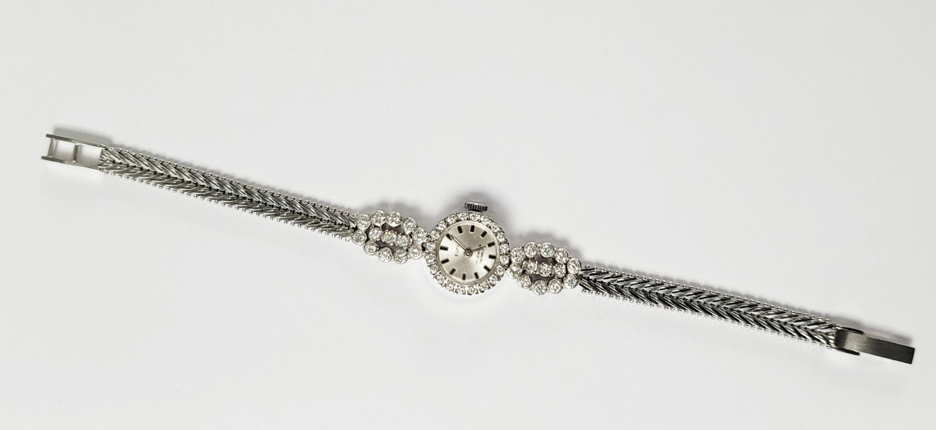 Eufa Damenarmbanduhr mit Diamanten, 14 Karat Weißgold