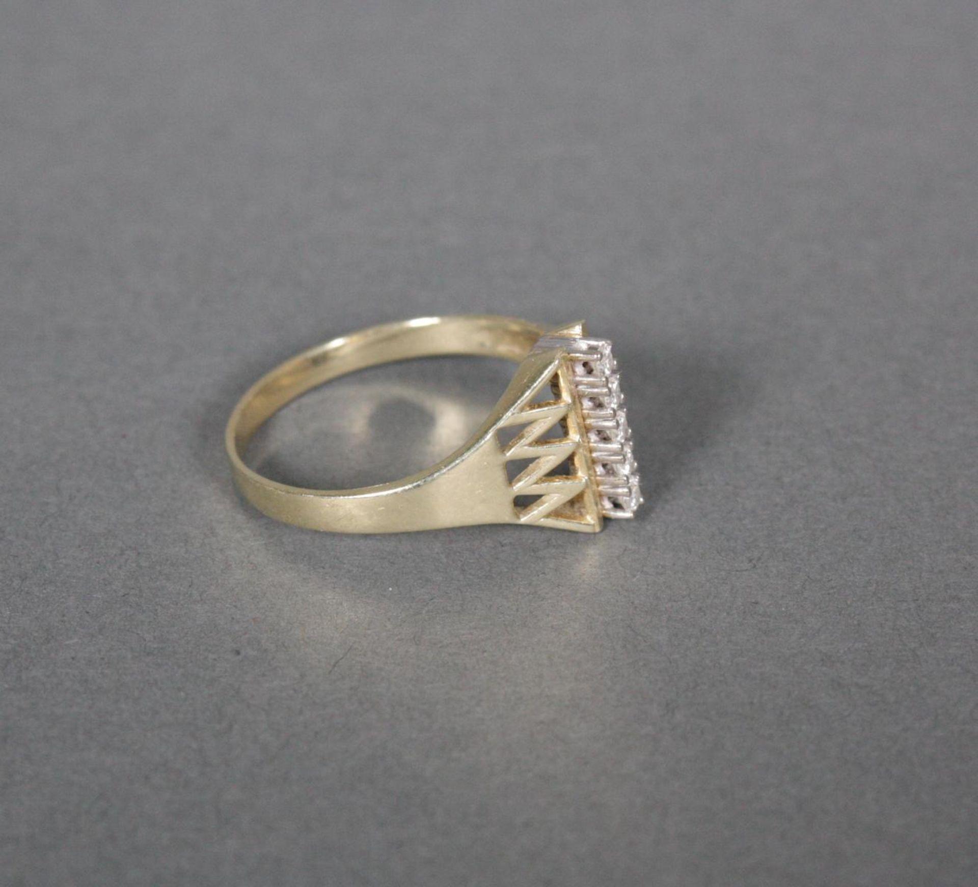 Damenring mit Diamanten, 14 Karat Gelbgold - Bild 2 aus 3