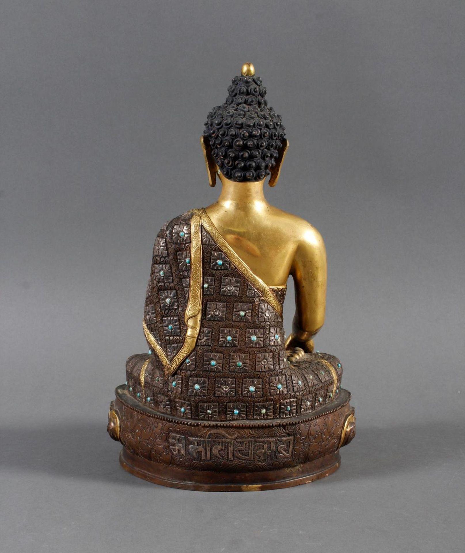 Bronze des Buddha Shakyamuni in der Erdberührungsgeste auf Lotospodest - Bild 3 aus 10