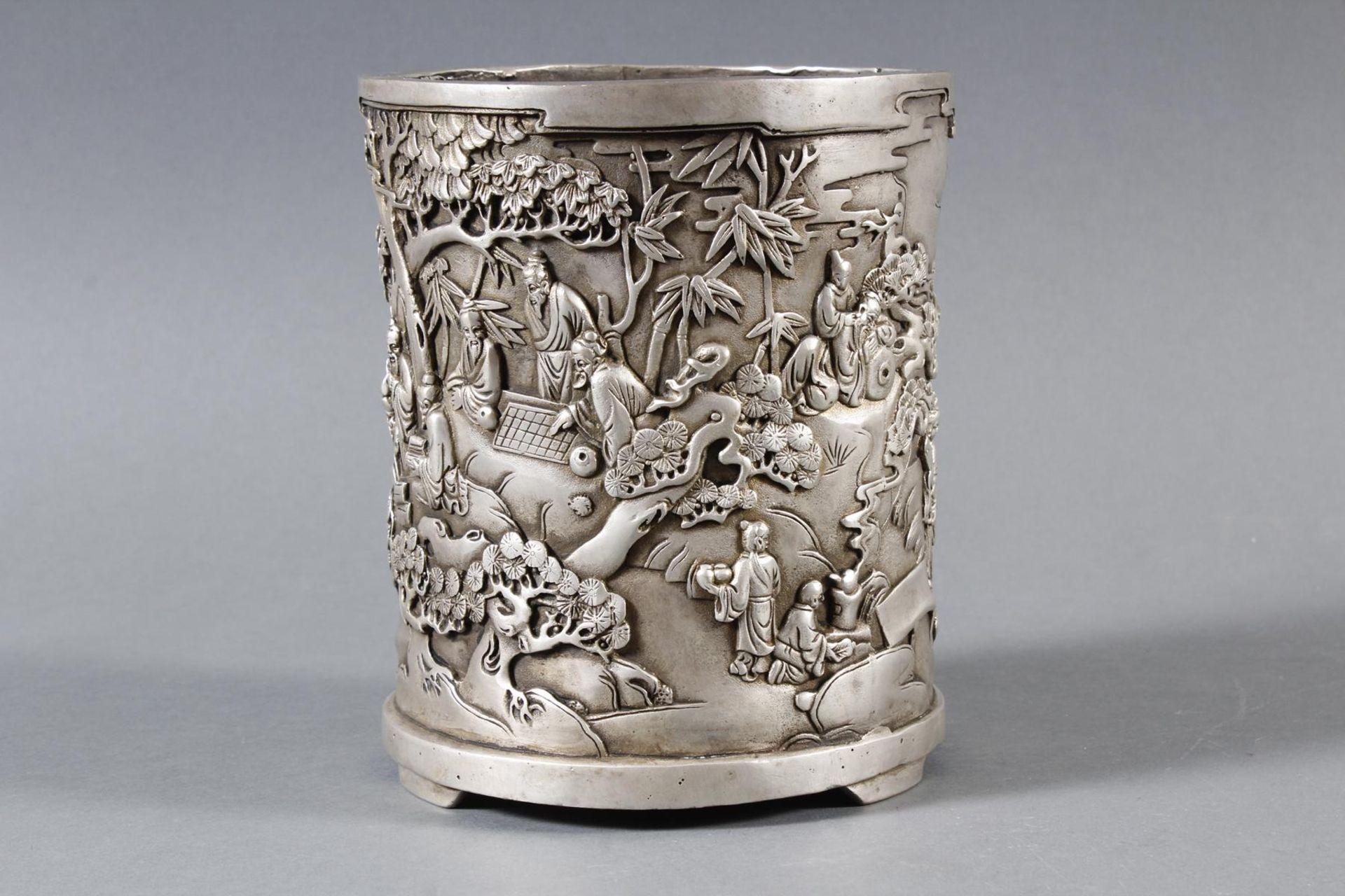 Pinselbecher aus verzinnter Bronze, China 1 Hälfte 20. Jahrhundert - Bild 4 aus 7