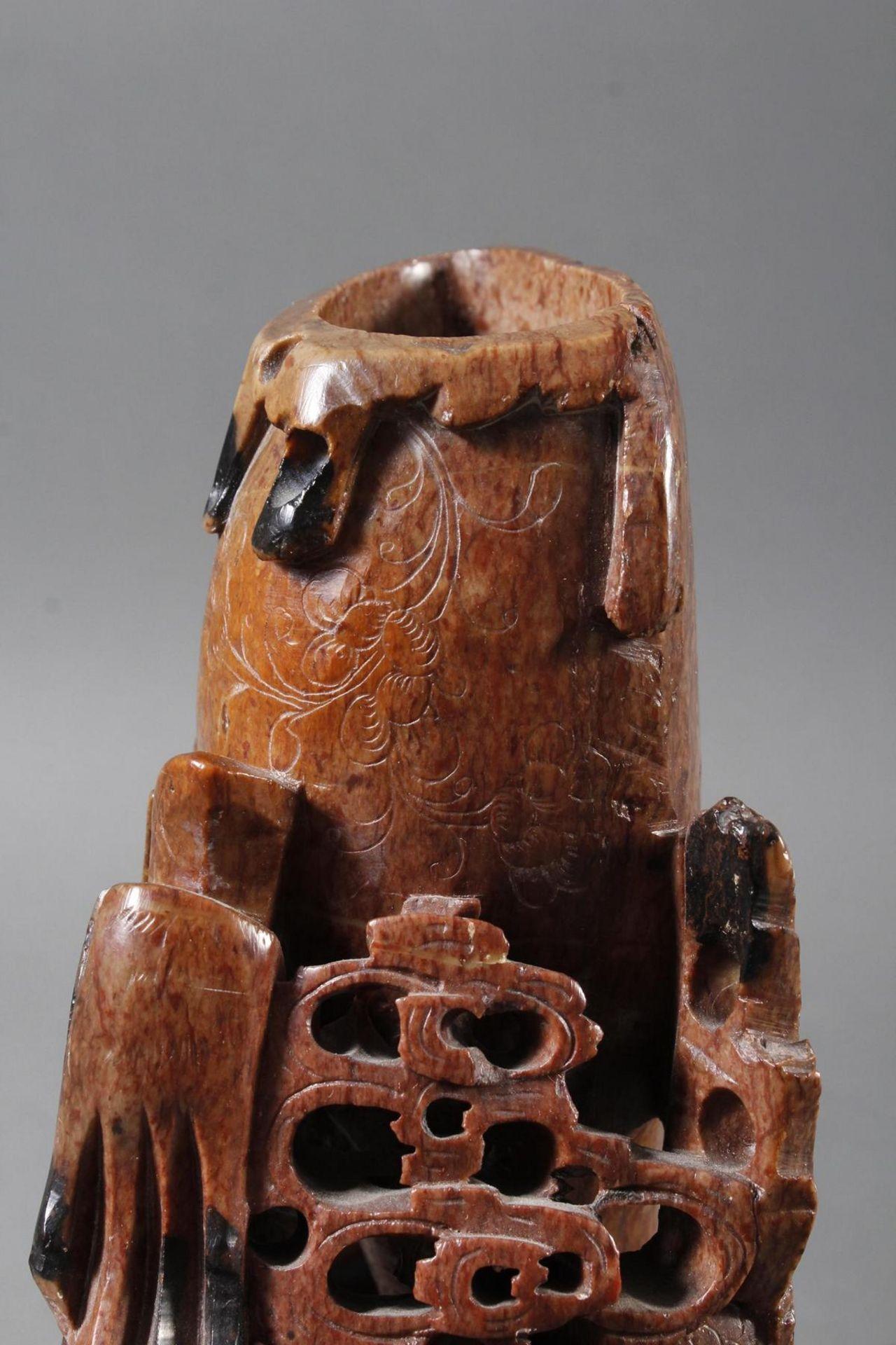 Tuschepinselwascher aus Steatit mit Zwei Becken, China Anfang 20 Jahrhundert - Bild 13 aus 16