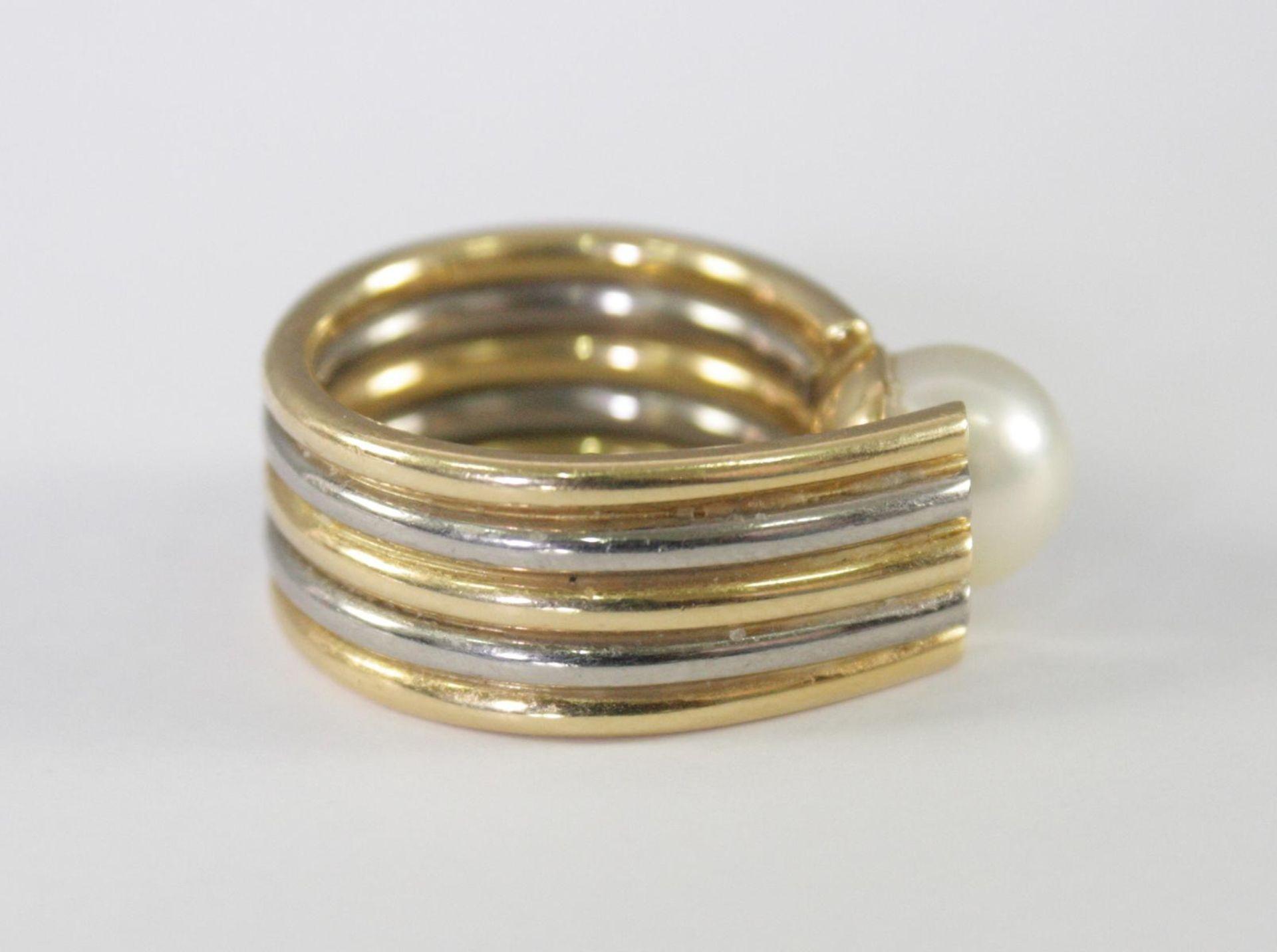 Damenring mit Perle und Diamanten, 18 Karat Gelb- und Weißgold - Bild 2 aus 4
