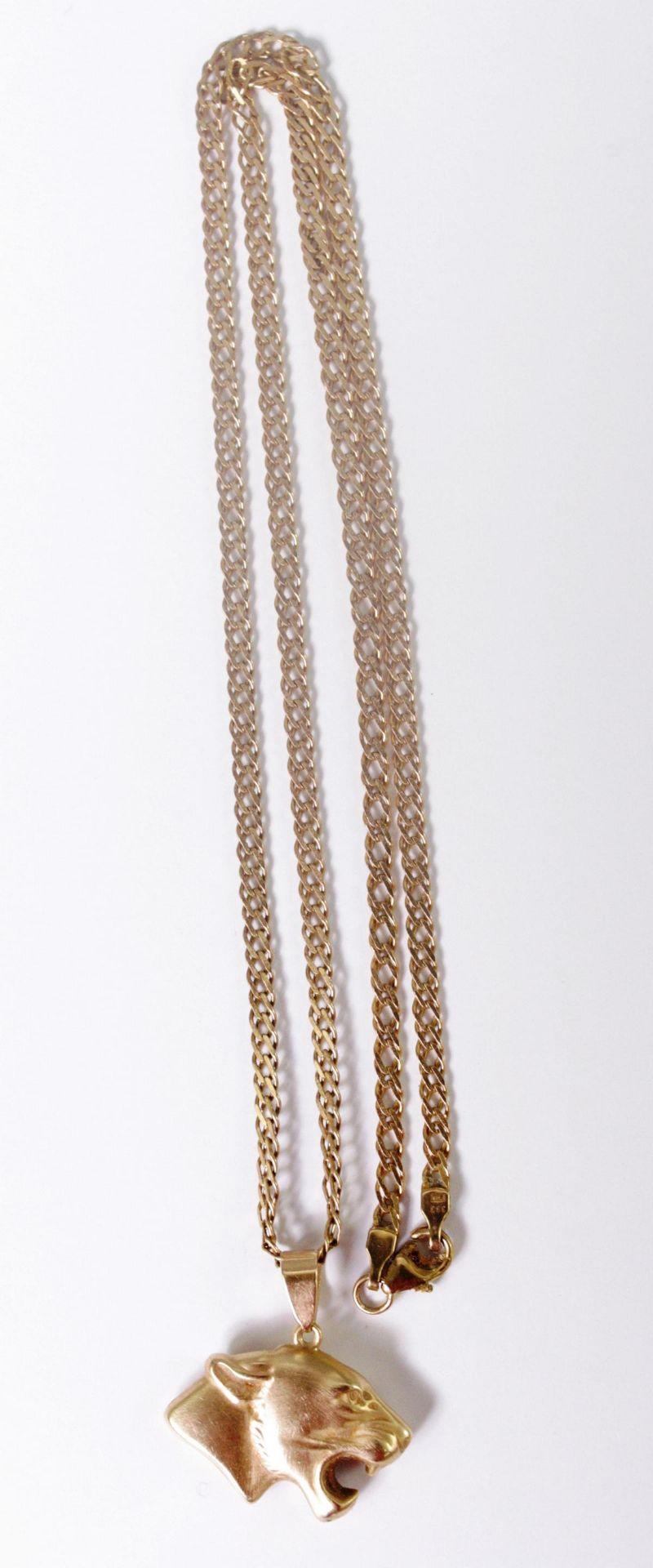 Halskette aus 8 Karat Gelbgold mit Tigeranhänger aus 14 Karat Gelbgold - Bild 2 aus 3