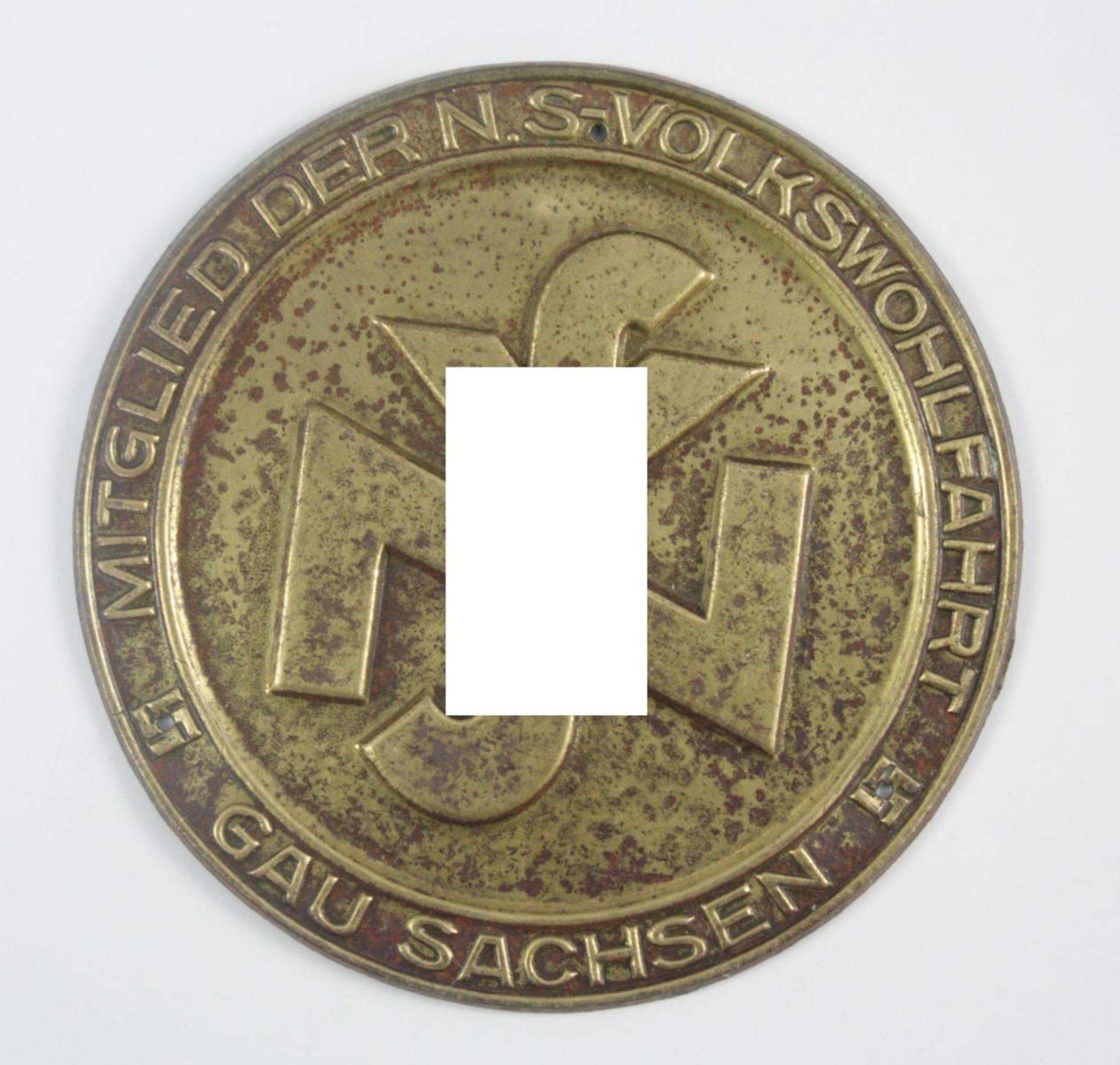 Kleine Türplakette NSV - Mitglied der NS Volkswohlfahrt Gau Sachsen