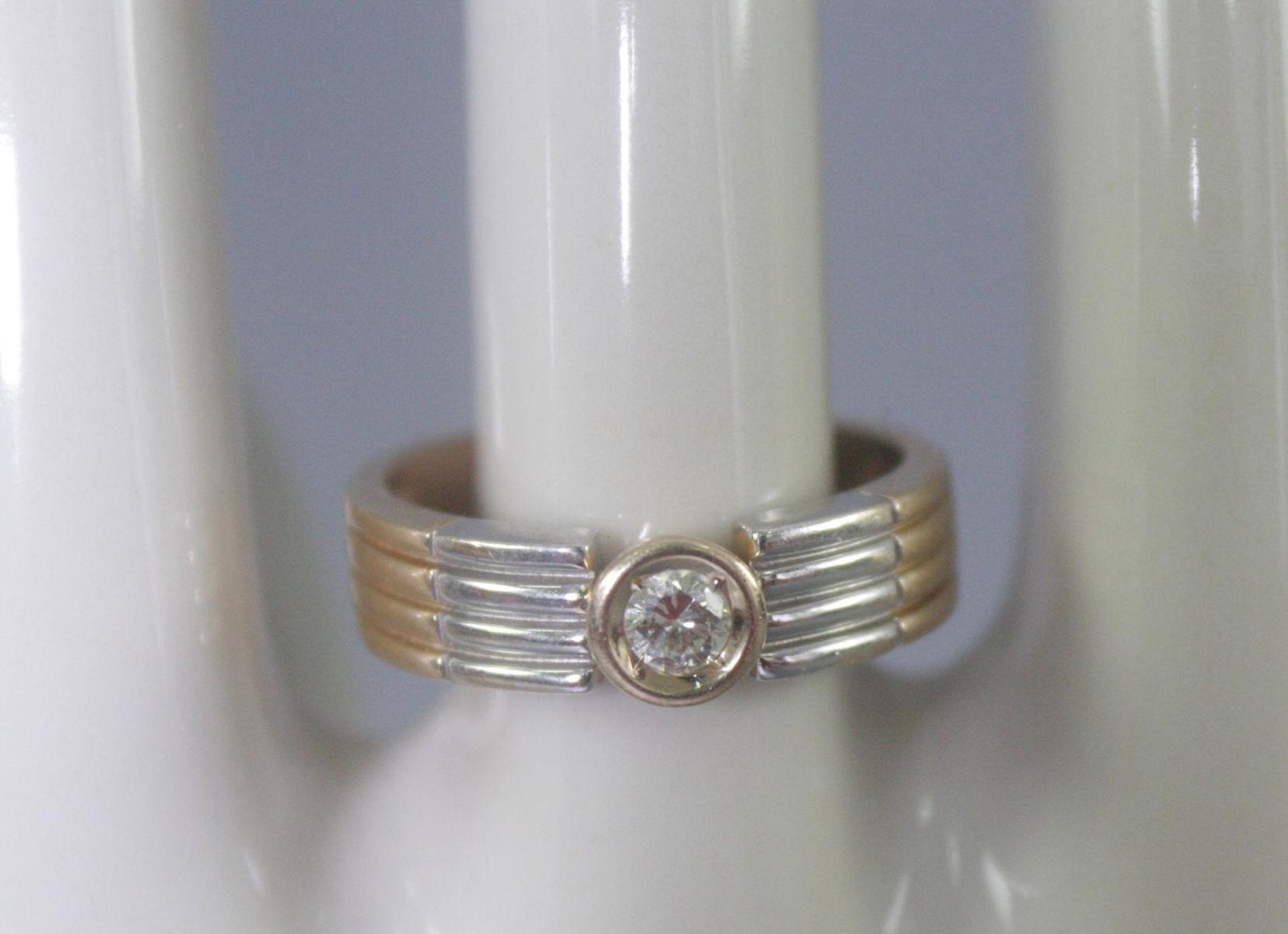 Damenring mit Diamant, 14 Karat Gelb- und Weißgold