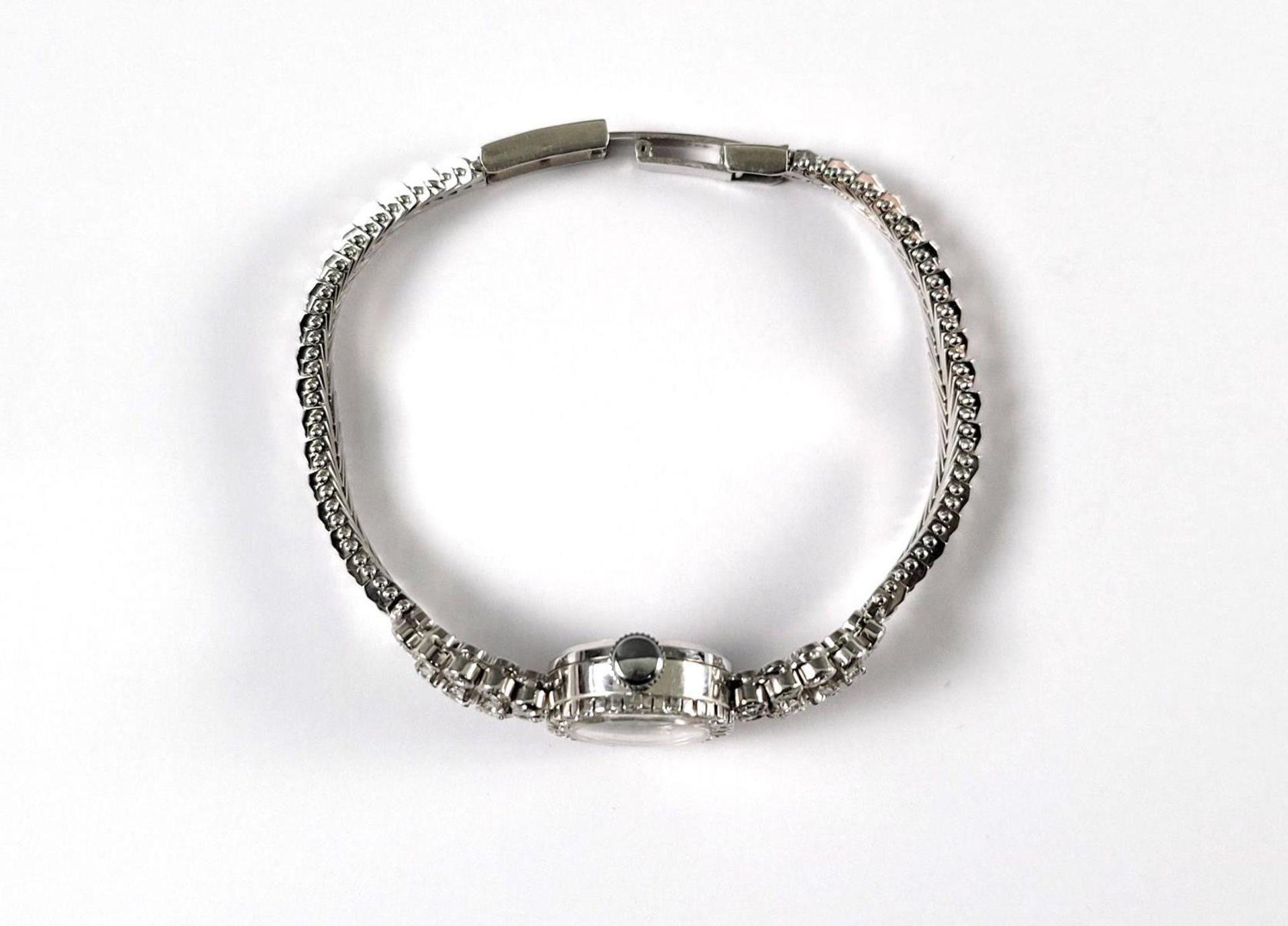 Eufa Damenarmbanduhr mit Diamanten, 14 Karat Weißgold - Bild 4 aus 4