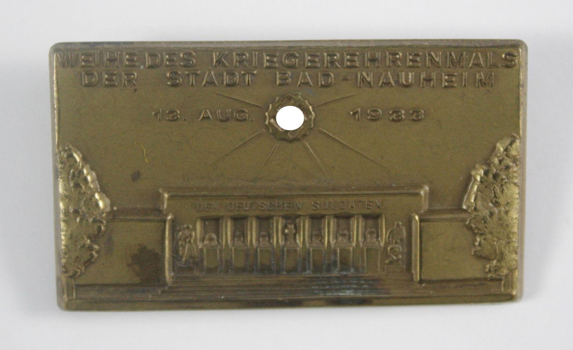 Tragbares Abzeichen: Weihe des Kriegerehrenmals der Stadt Bad Nauheim 13. August 1933