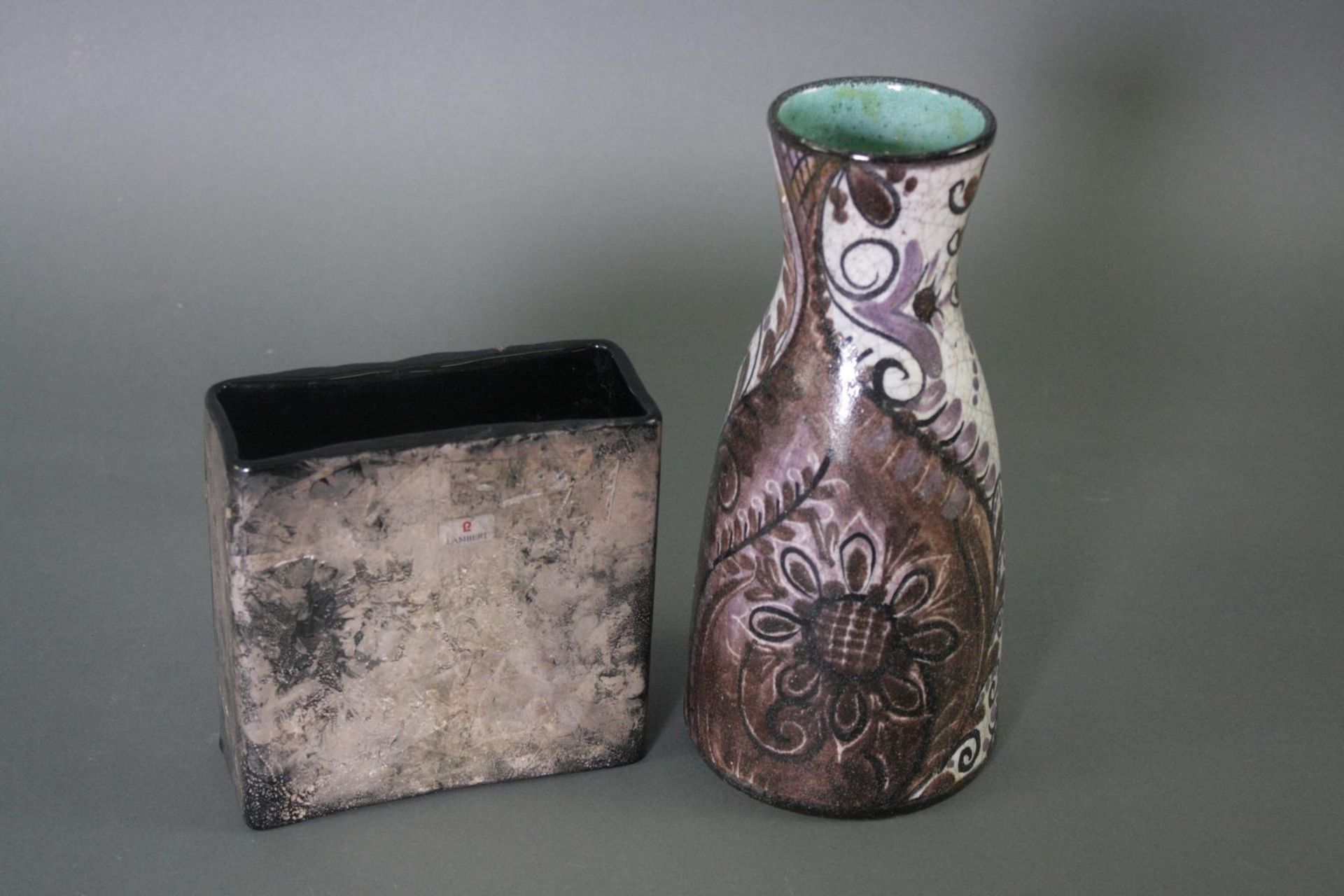 Zwei Keramik Vasen, Gunther Lambert und Eder Gmunden