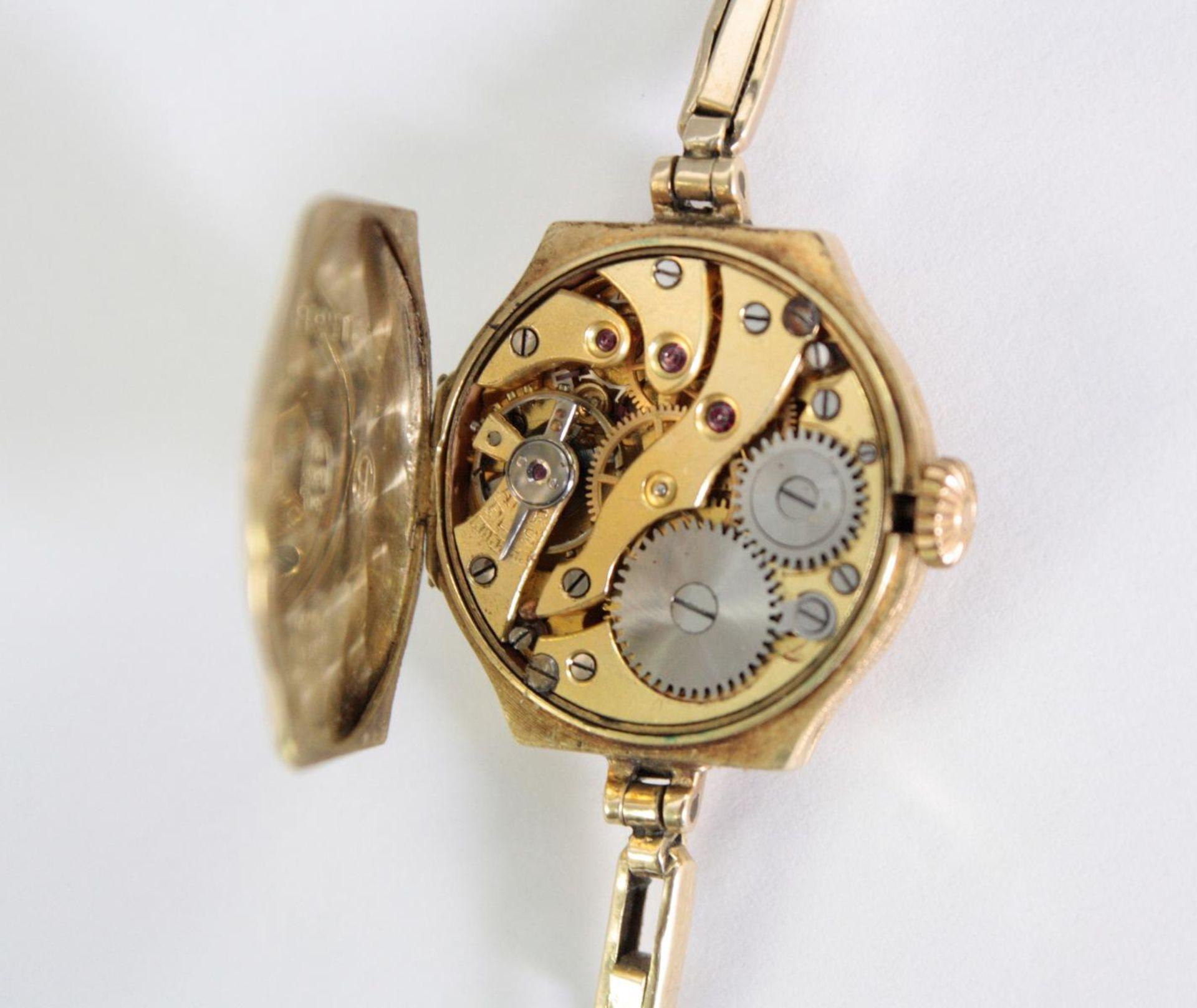 Antike Damenarmbanduhr, 14 Karat Gelbgold - Bild 4 aus 5