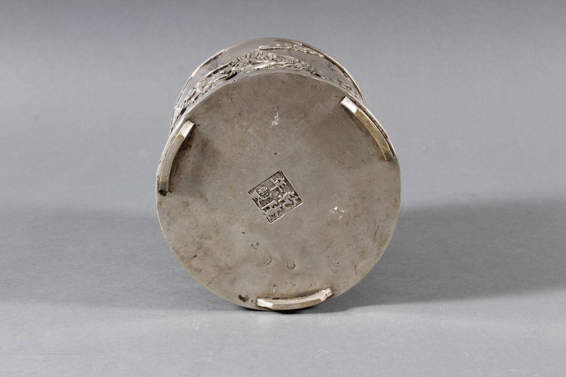 Pinselbecher aus verzinnter Bronze, China 1 Hälfte 20. Jahrhundert - Bild 6 aus 7