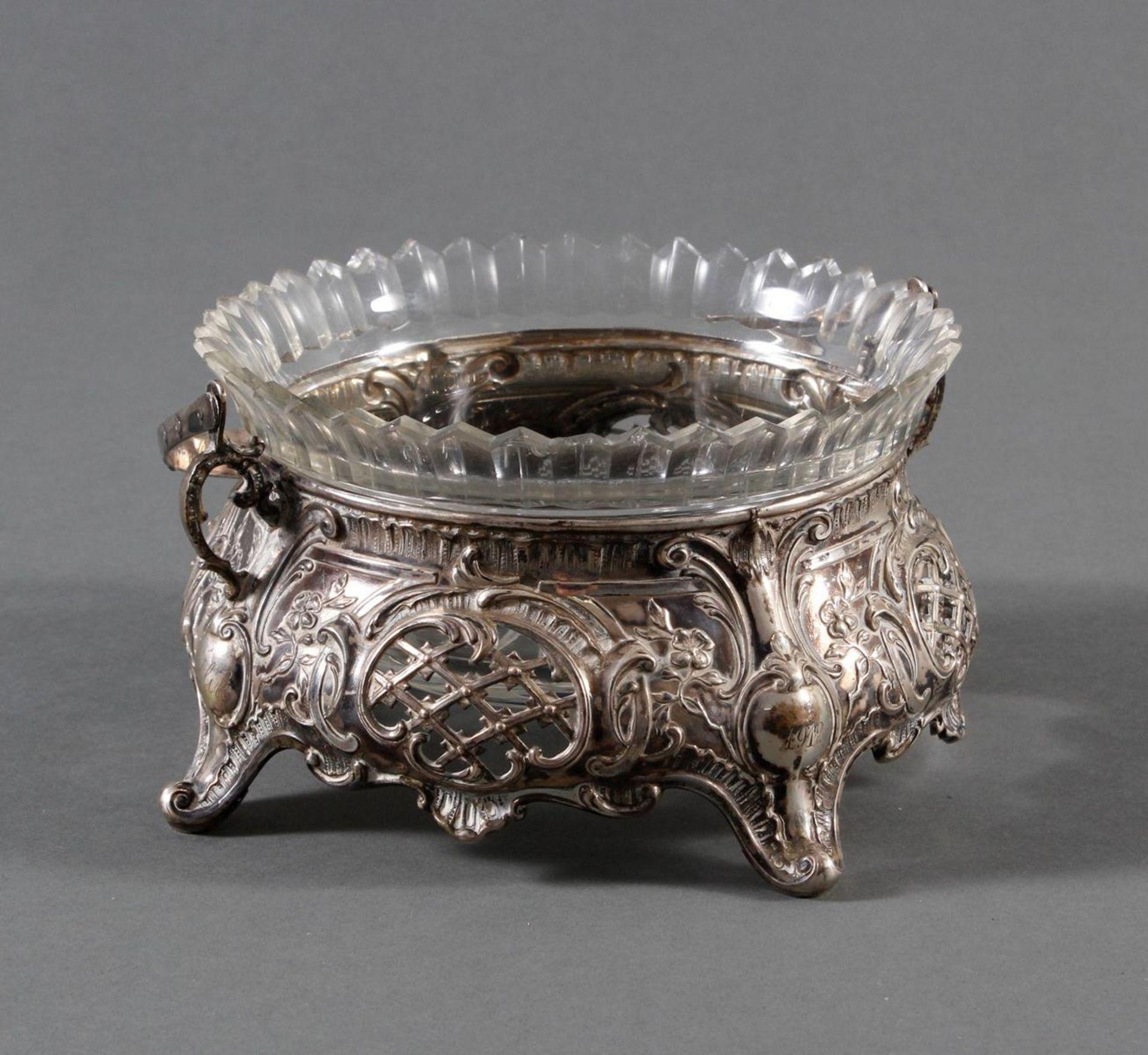 Silbernes Gebäckschälchen mit Glaseinsatz und Gravur