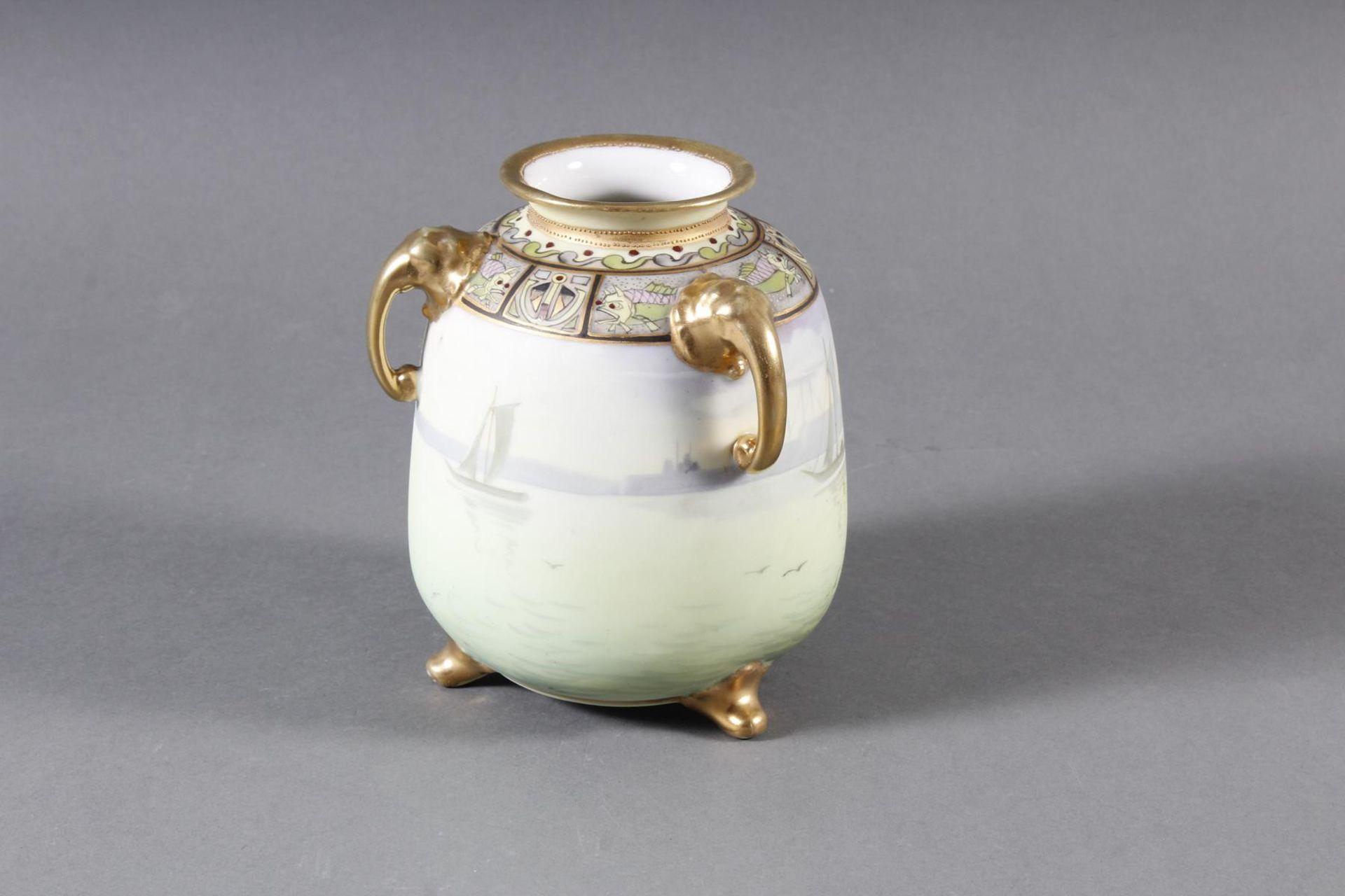 Dreihenkel-Porzellanvase, Nippon Porzellan um 1910 - Bild 3 aus 9
