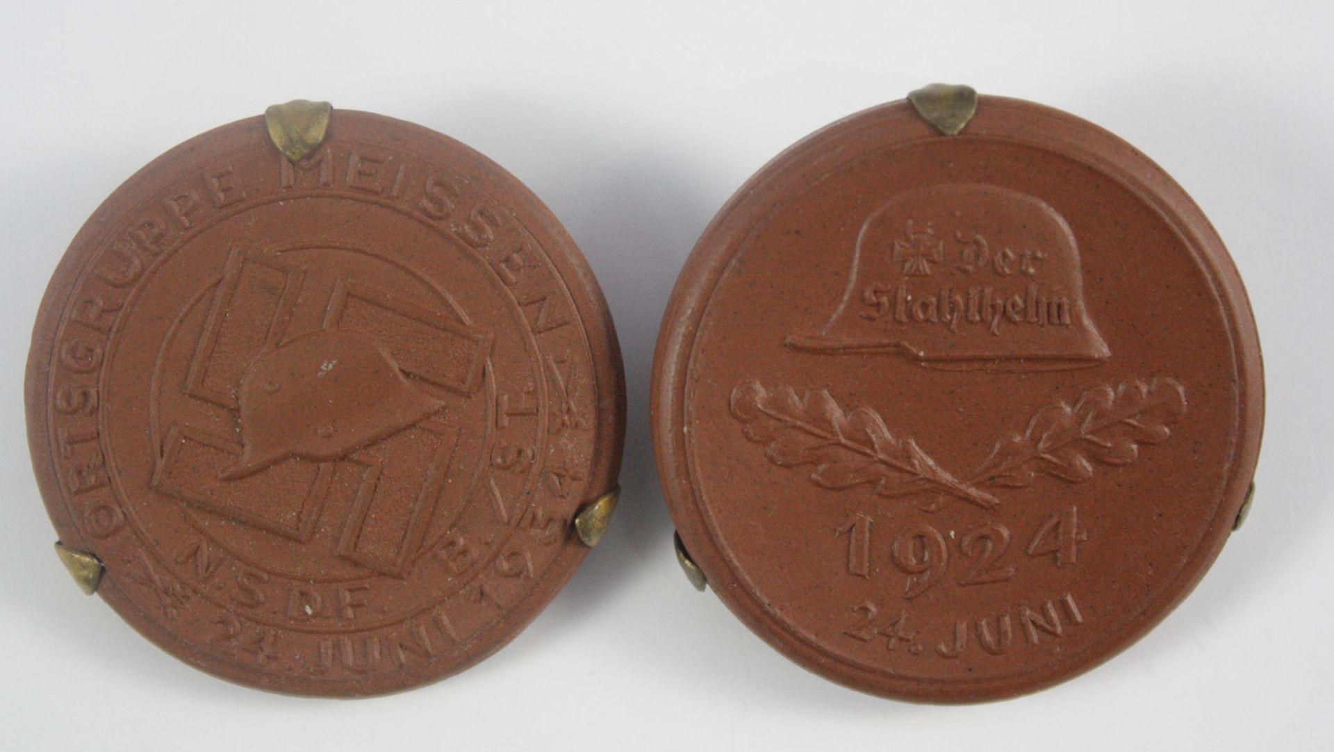 2x Medaille, Meissen Ortsgruppe NSDF B/ST 24. Juni 1934, Stahlhlembund