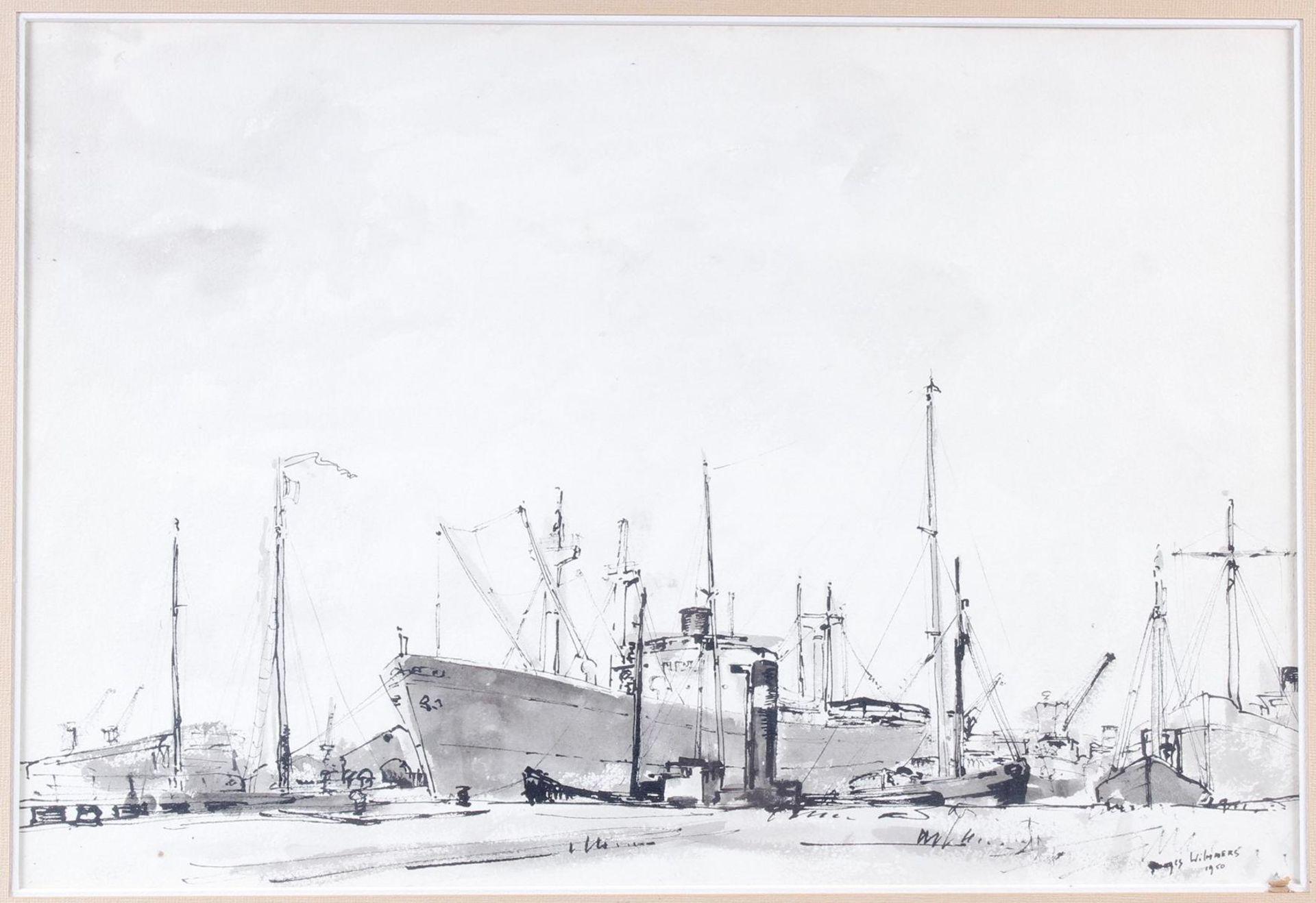 Aquarell, Hafenansicht mit Schiffen, Wilmmers 1950 - Bild 2 aus 5