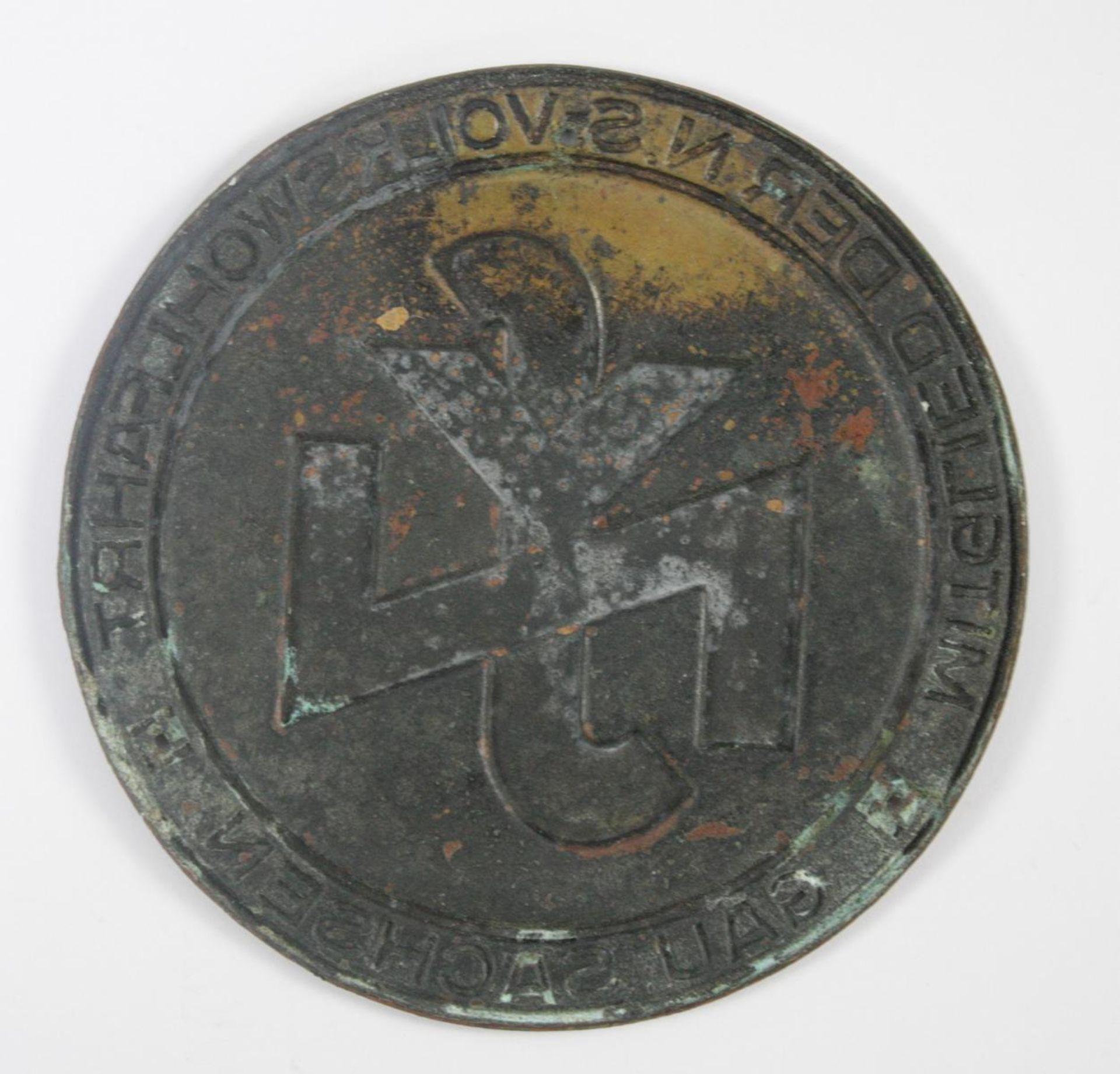 Kleine Türplakette NSV - Mitglied der NS Volkswohlfahrt Gau Sachsen - Bild 2 aus 2