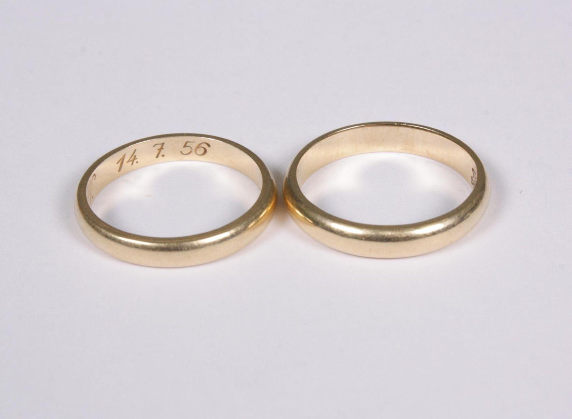 Paar Eheringe, 14 Karat Gelbgold - Bild 2 aus 2
