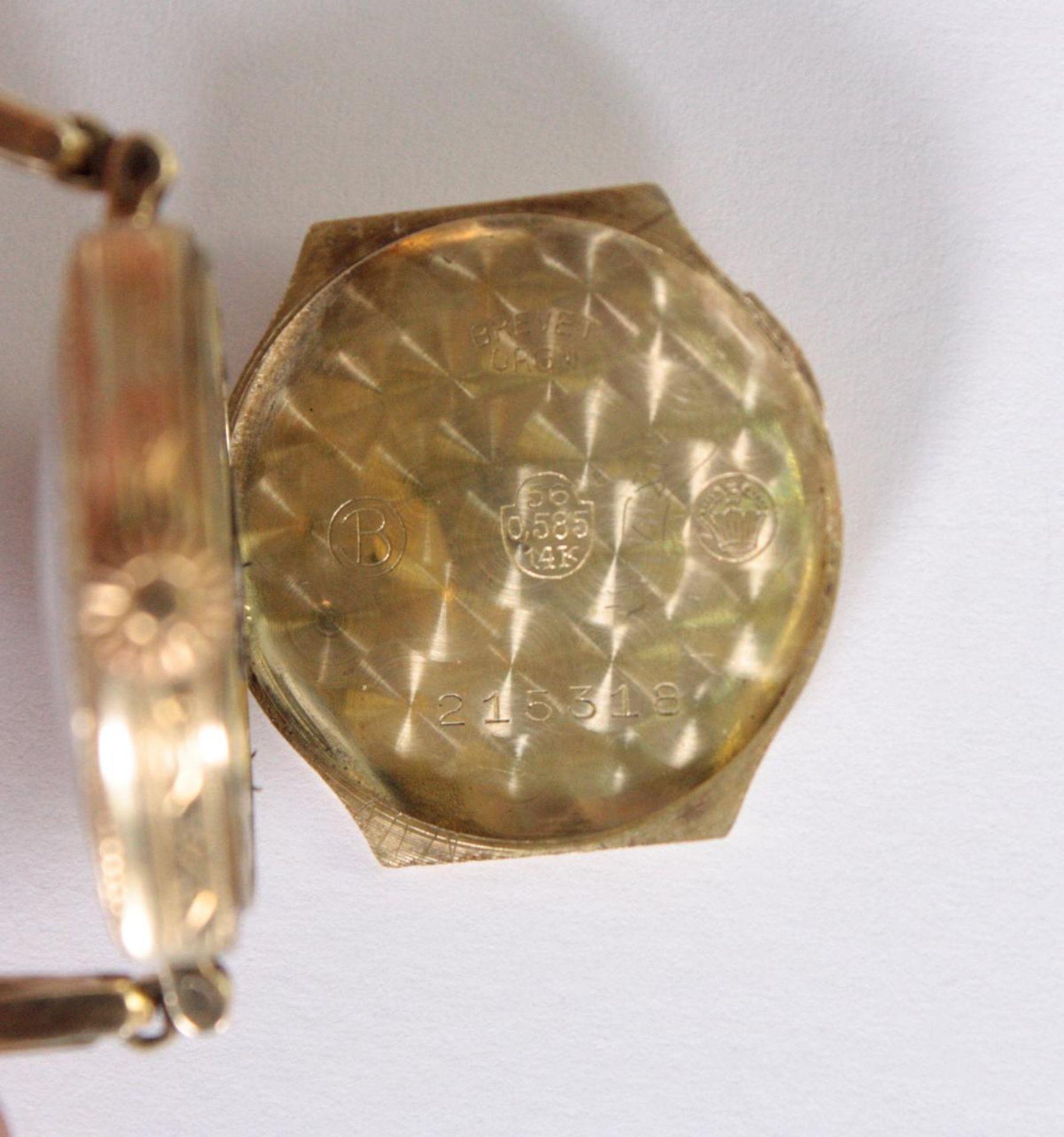 Antike Damenarmbanduhr, 14 Karat Gelbgold - Bild 5 aus 5