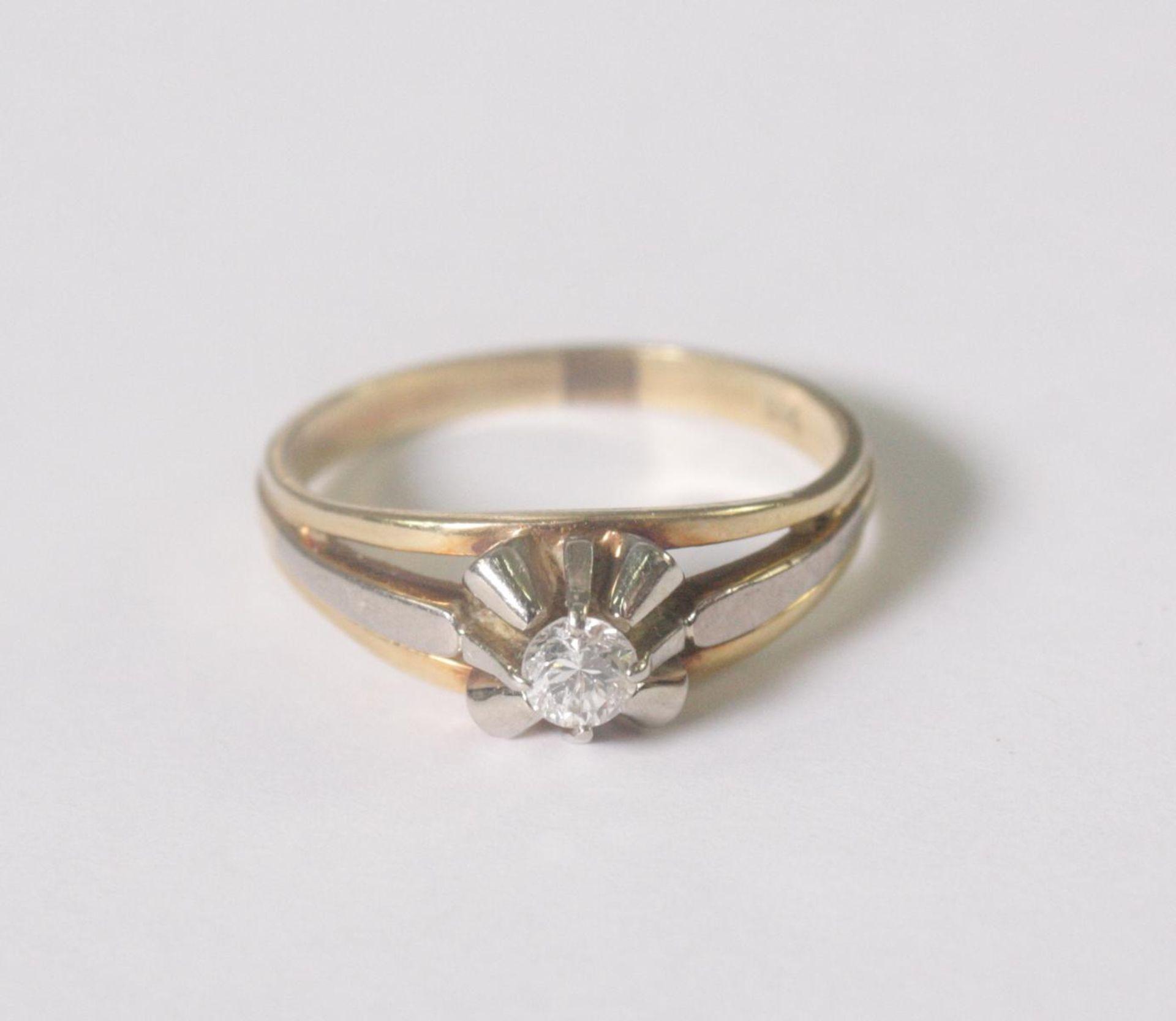 Damenring mit Diamant, 14 Karat Gelbgold - Bild 2 aus 4