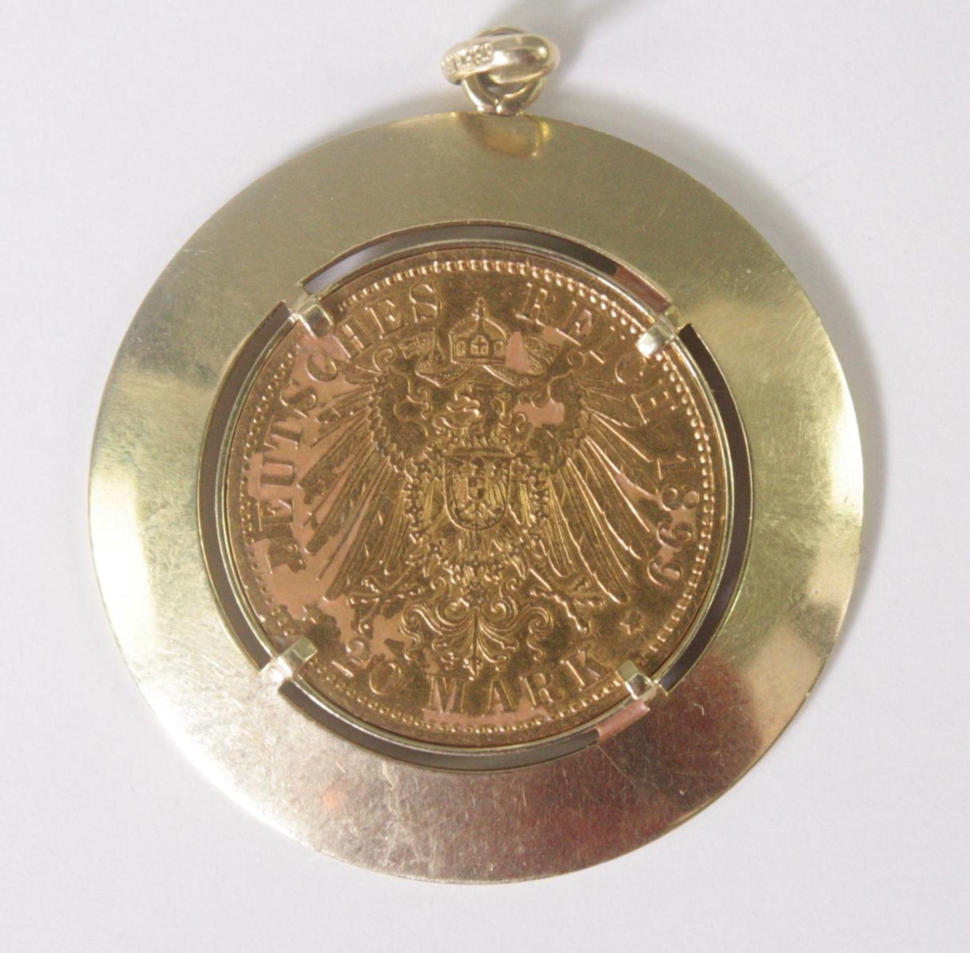 Anhänger mit 20 Mark Münze 1899 A - Bild 2 aus 2