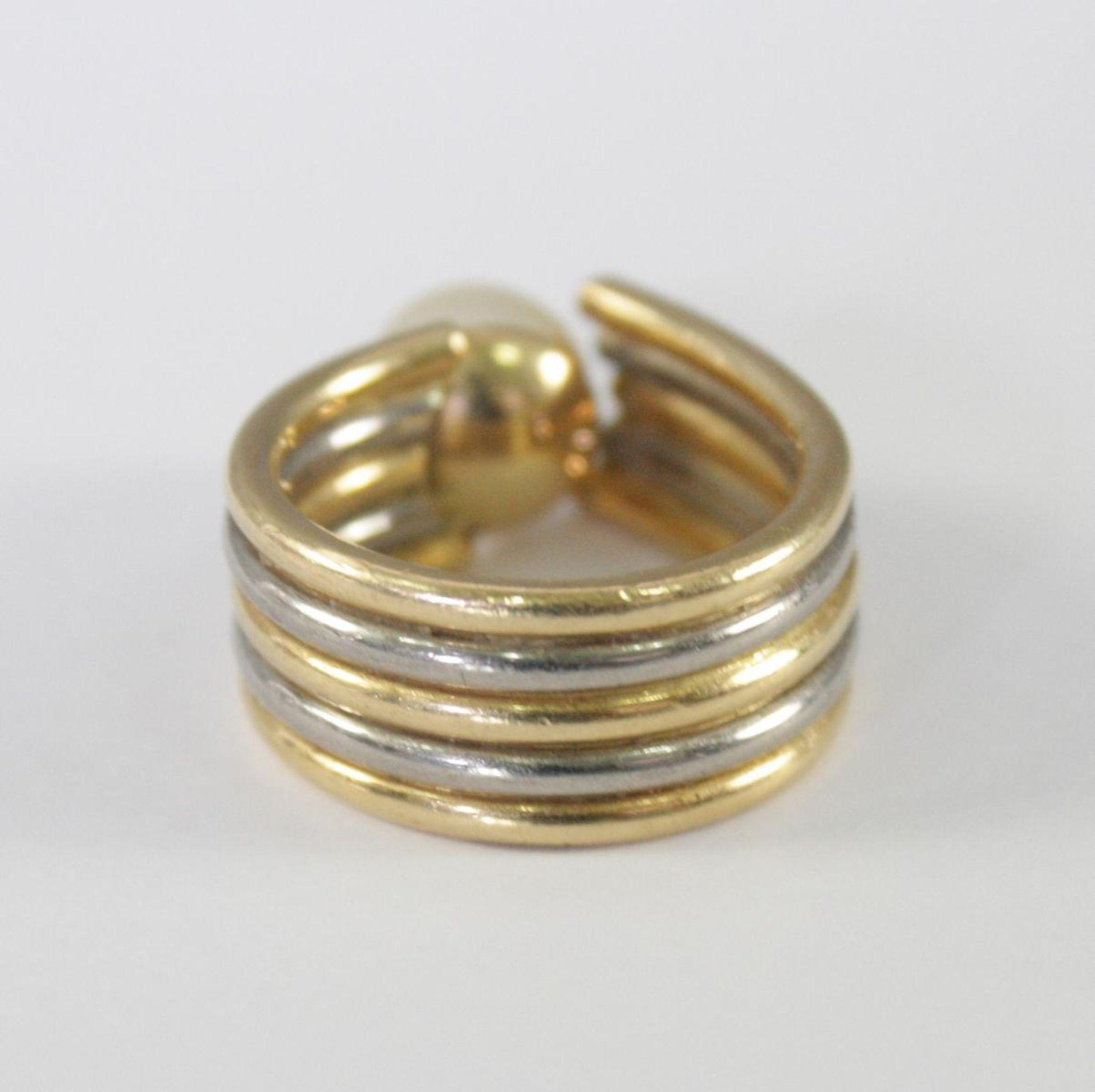 Damenring mit Perle und Diamanten, 18 Karat Gelb- und Weißgold - Bild 4 aus 4