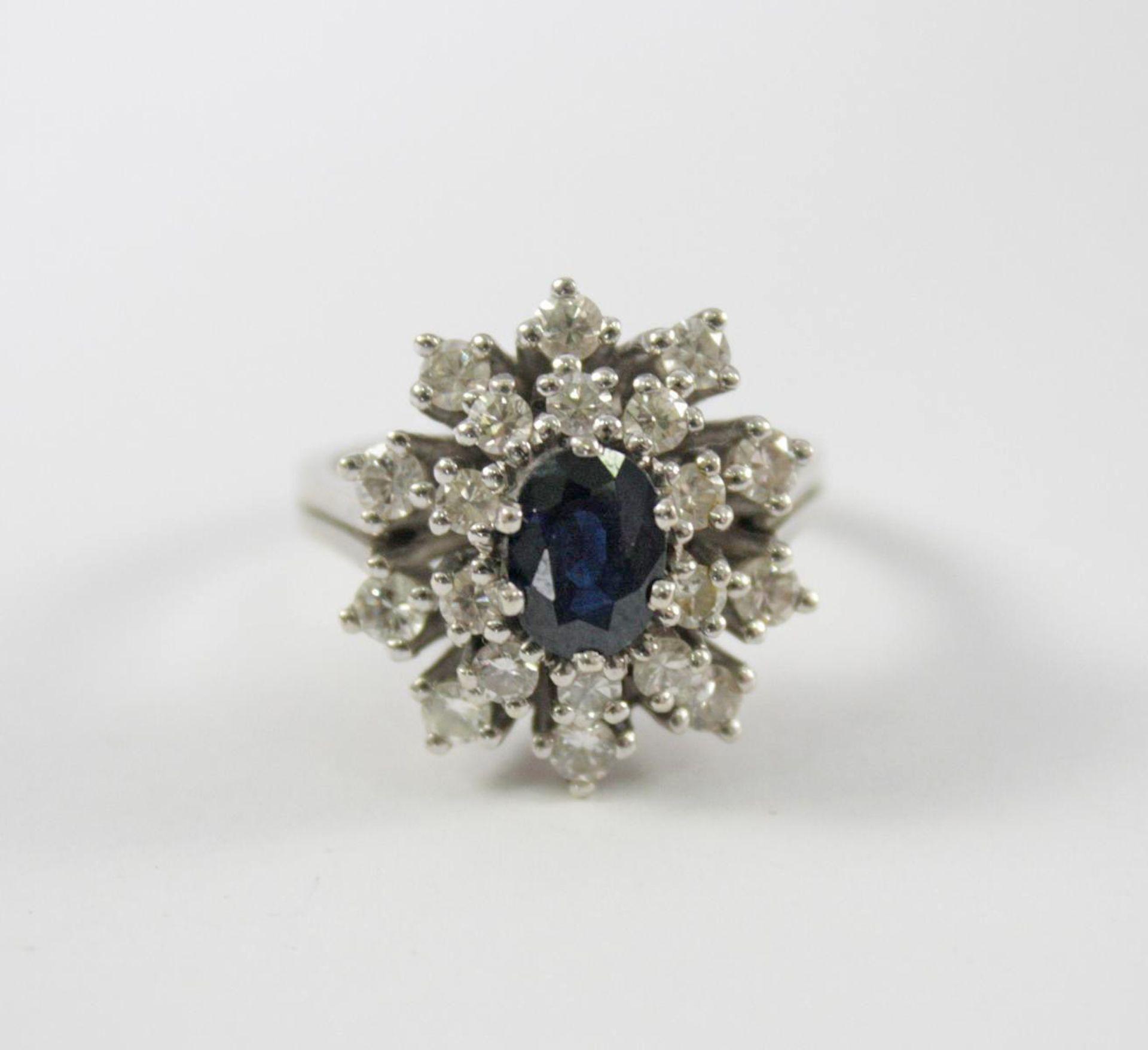 Damenring mit Diamanten und Saphir, 14 Karat Weißgold