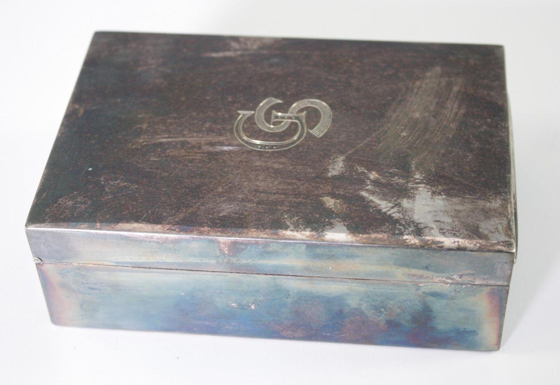 Silberne Deckeldose mit Monogramm GS, Zigarettendose - Bild 3 aus 6