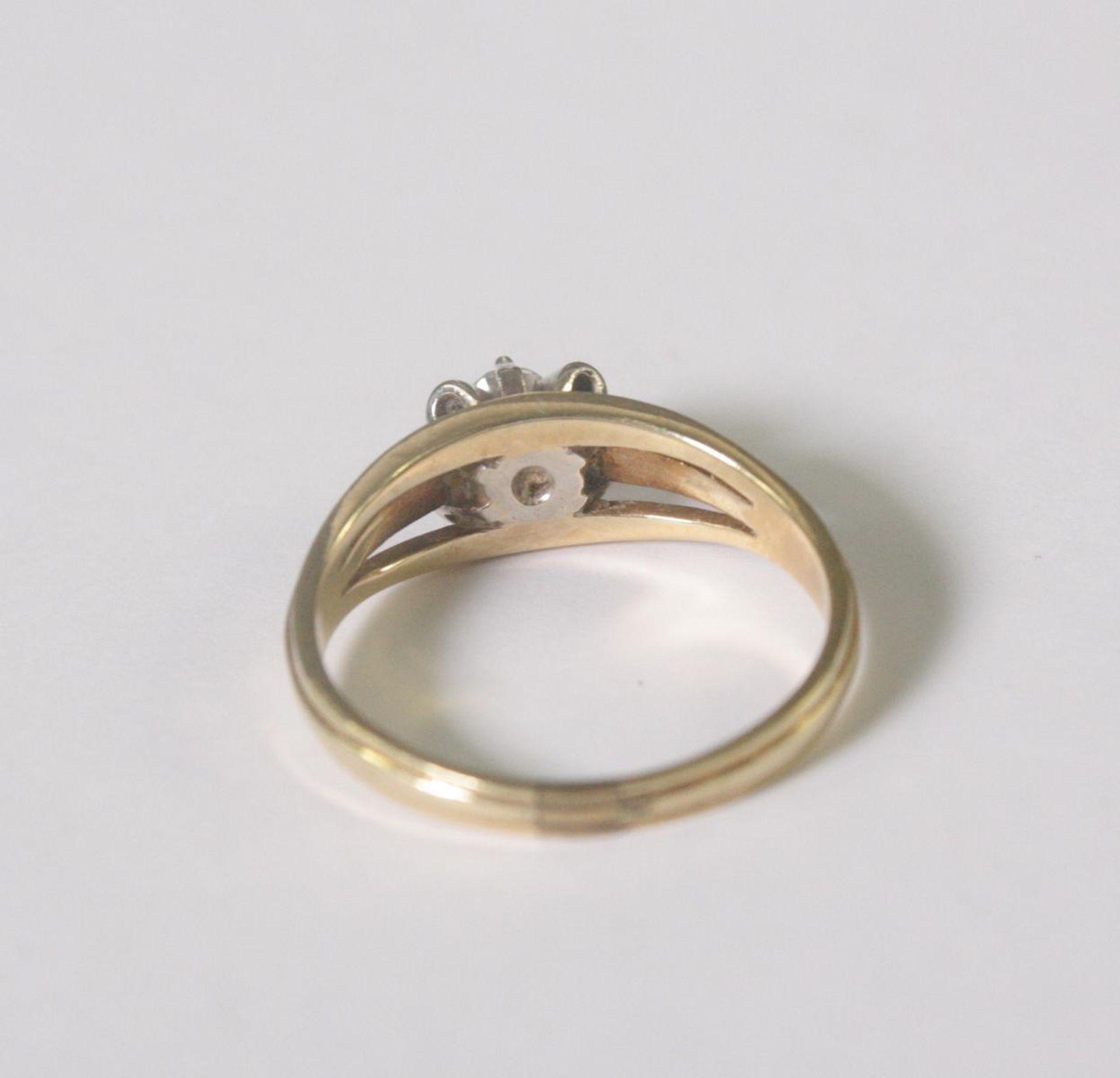 Damenring mit Diamant, 14 Karat Gelbgold - Bild 4 aus 4