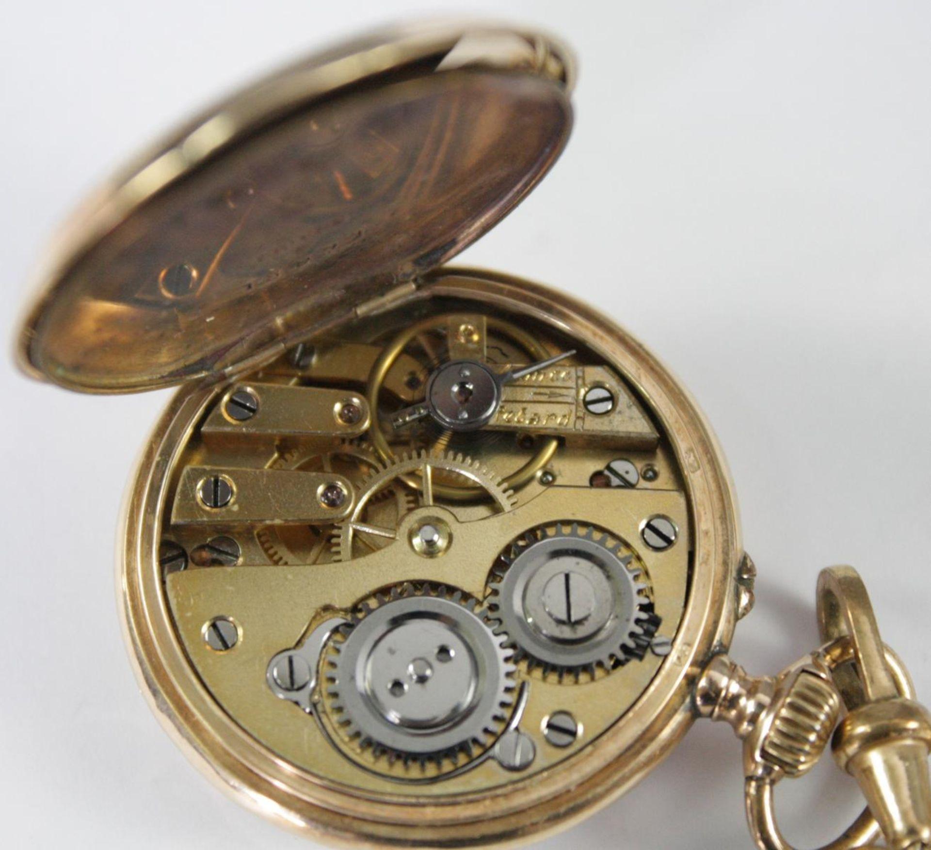 Goldene Damentaschenuhr, 14 Karat Gelbgold - Bild 5 aus 6
