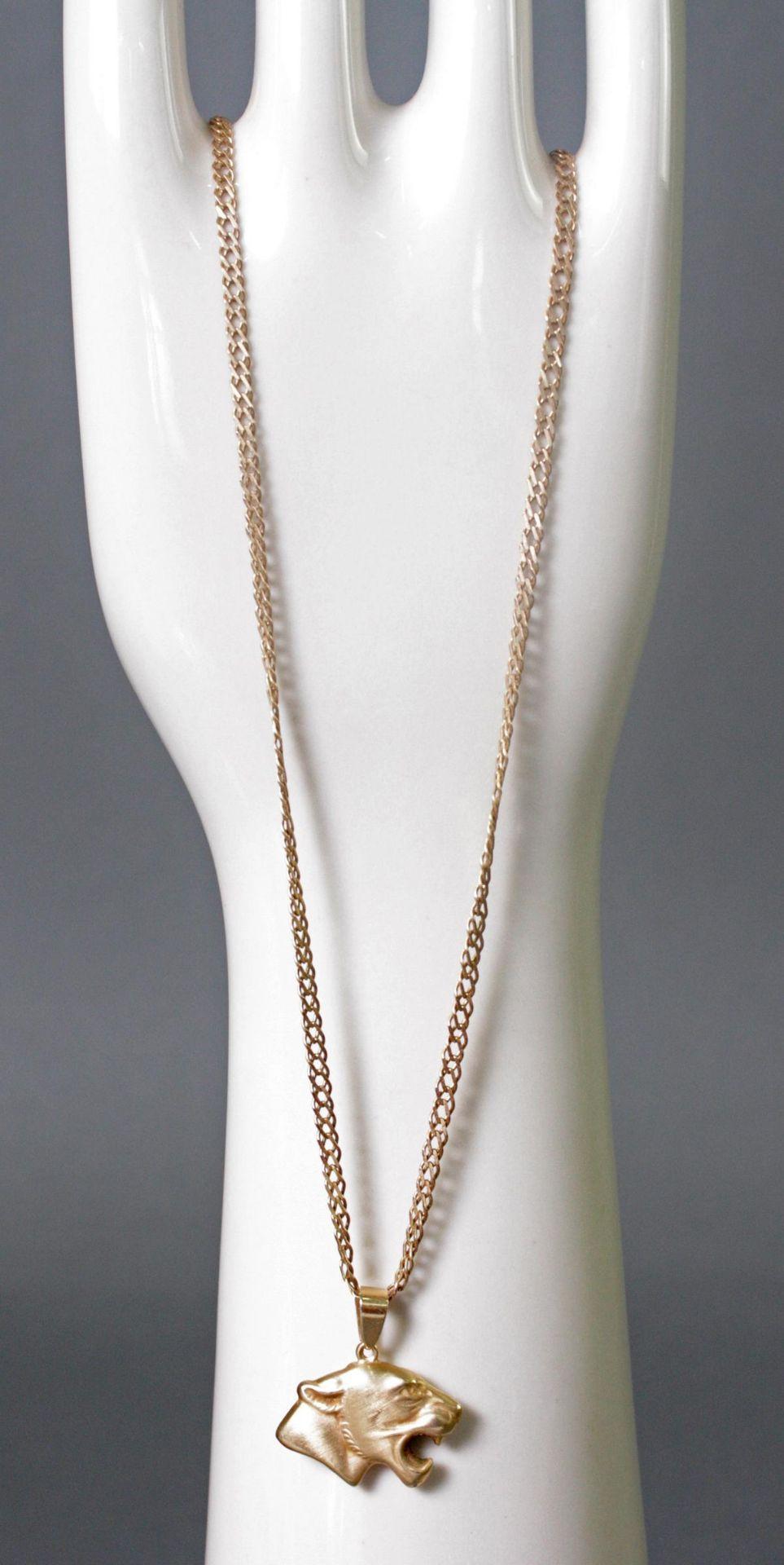 Halskette aus 8 Karat Gelbgold mit Tigeranhänger aus 14 Karat Gelbgold