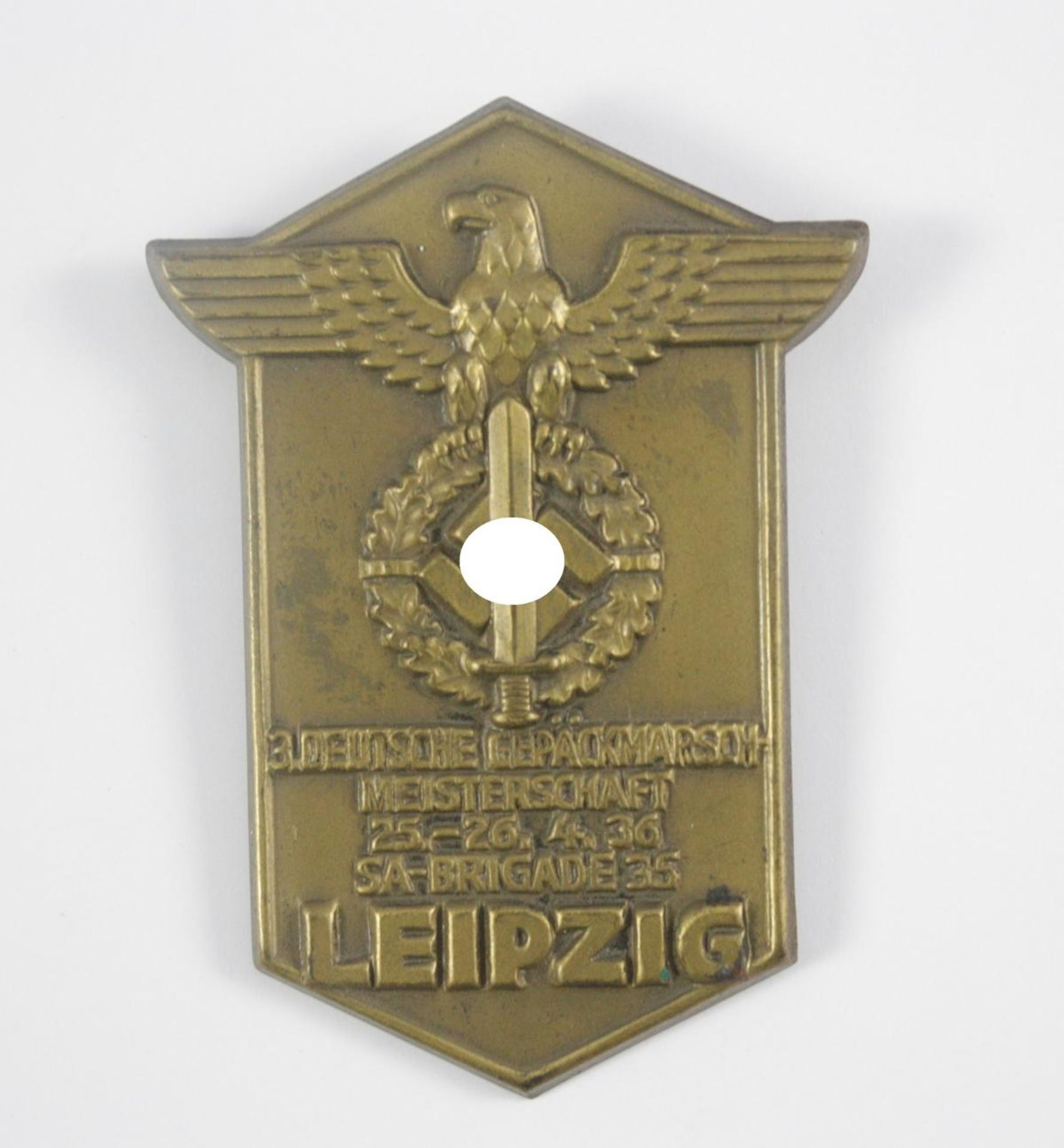 Abzeichen, 3. Deutsche Gepäckmarschmeisterschaft 1936, SA Brigade 35, Leipzig