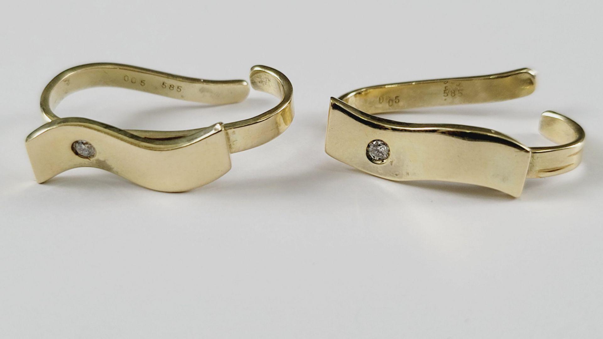 Tuchringe mit Diamanten, 14 Karat Gelbgold