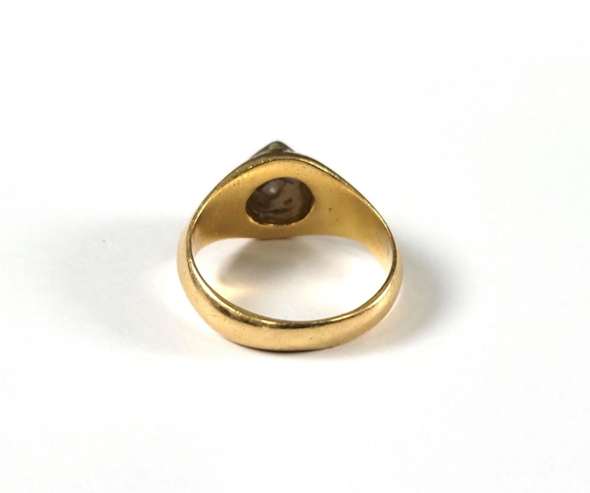Damenring mit Diamanten, 18 Karat Gelbgold - Bild 3 aus 4