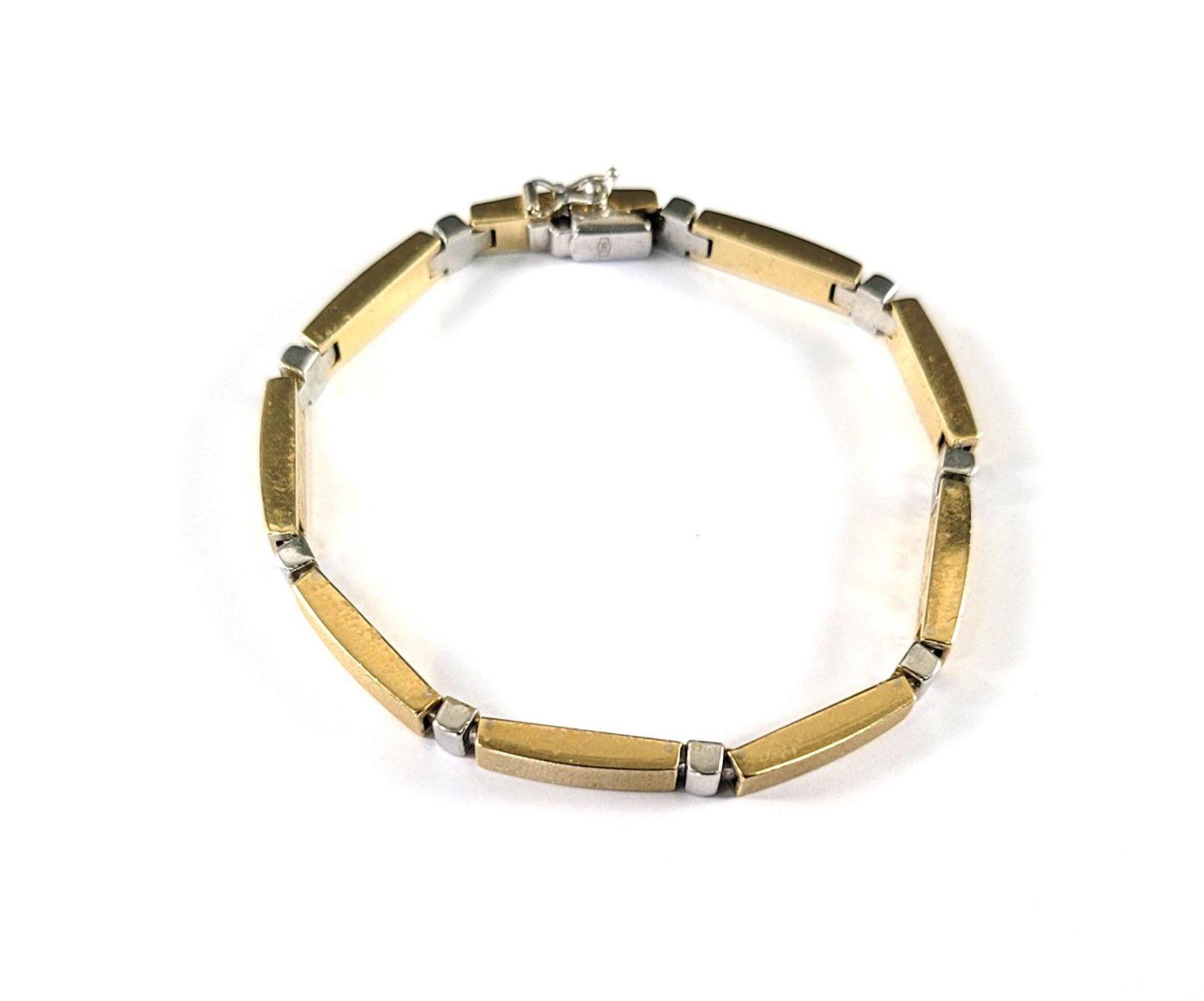 Damenarmband, 14 Karat Gelb- und Weißgold - Bild 3 aus 3