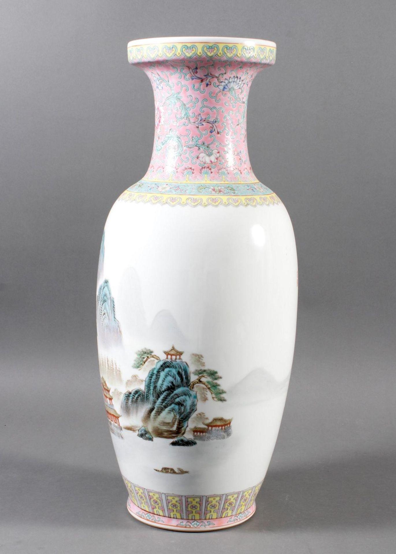 Porzellan Bodenvase, China 20. Jahrhundert - Bild 6 aus 12