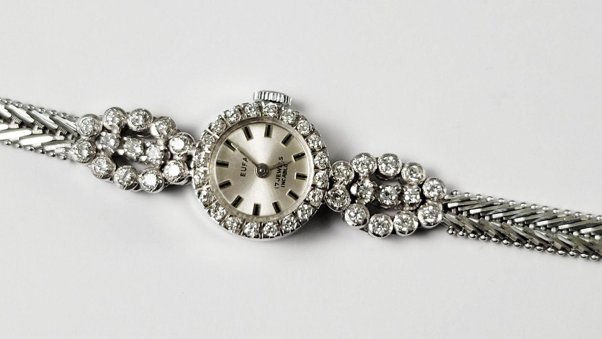 Eufa Damenarmbanduhr mit Diamanten, 14 Karat Weißgold - Bild 2 aus 4