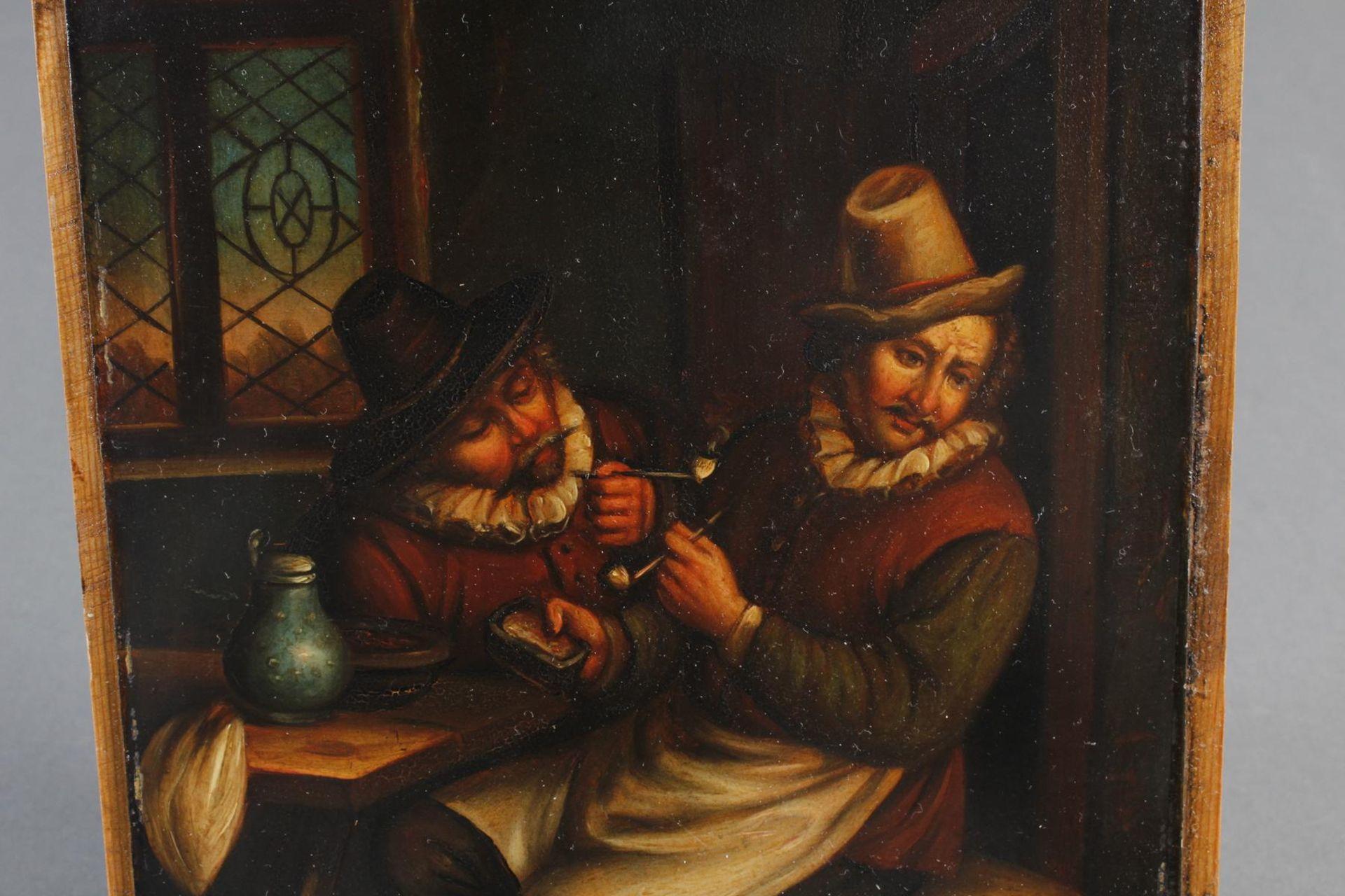 """Ölgemälde, wohl Holland 18. Jahrhundert, """"Die Raucher in der guten Stube - Bild 3 aus 5"""