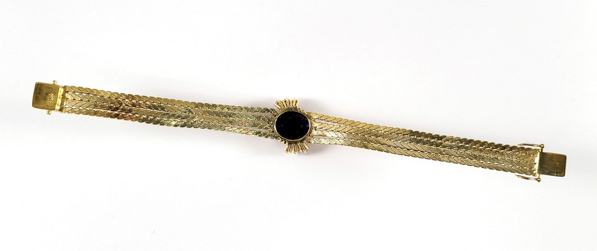 Damenarmband mit großem, facettierten Amethyst und Diamanten, 14 Karat Gelbgold - Bild 3 aus 7